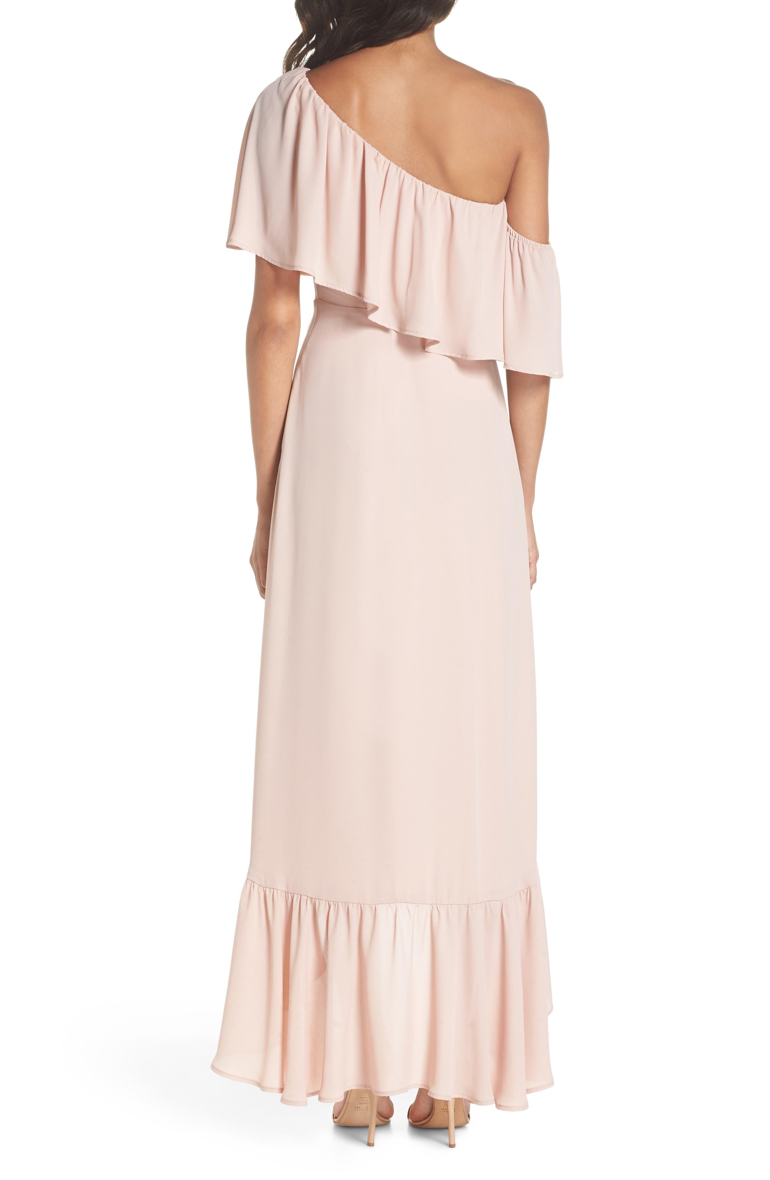 Tango Ruffle Gown,                             Alternate thumbnail 2, color,                             Dusty Blush Crisp