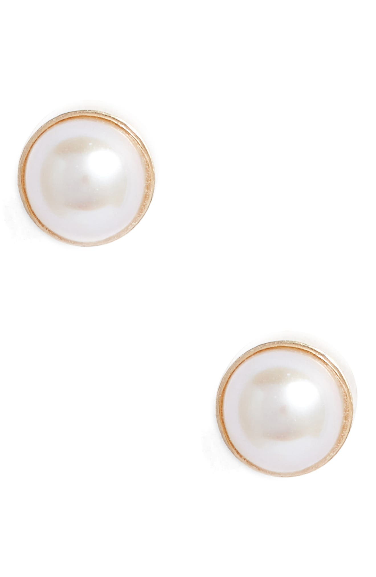 Poppy Finch Baby Pearl Bezel Stud Earrings