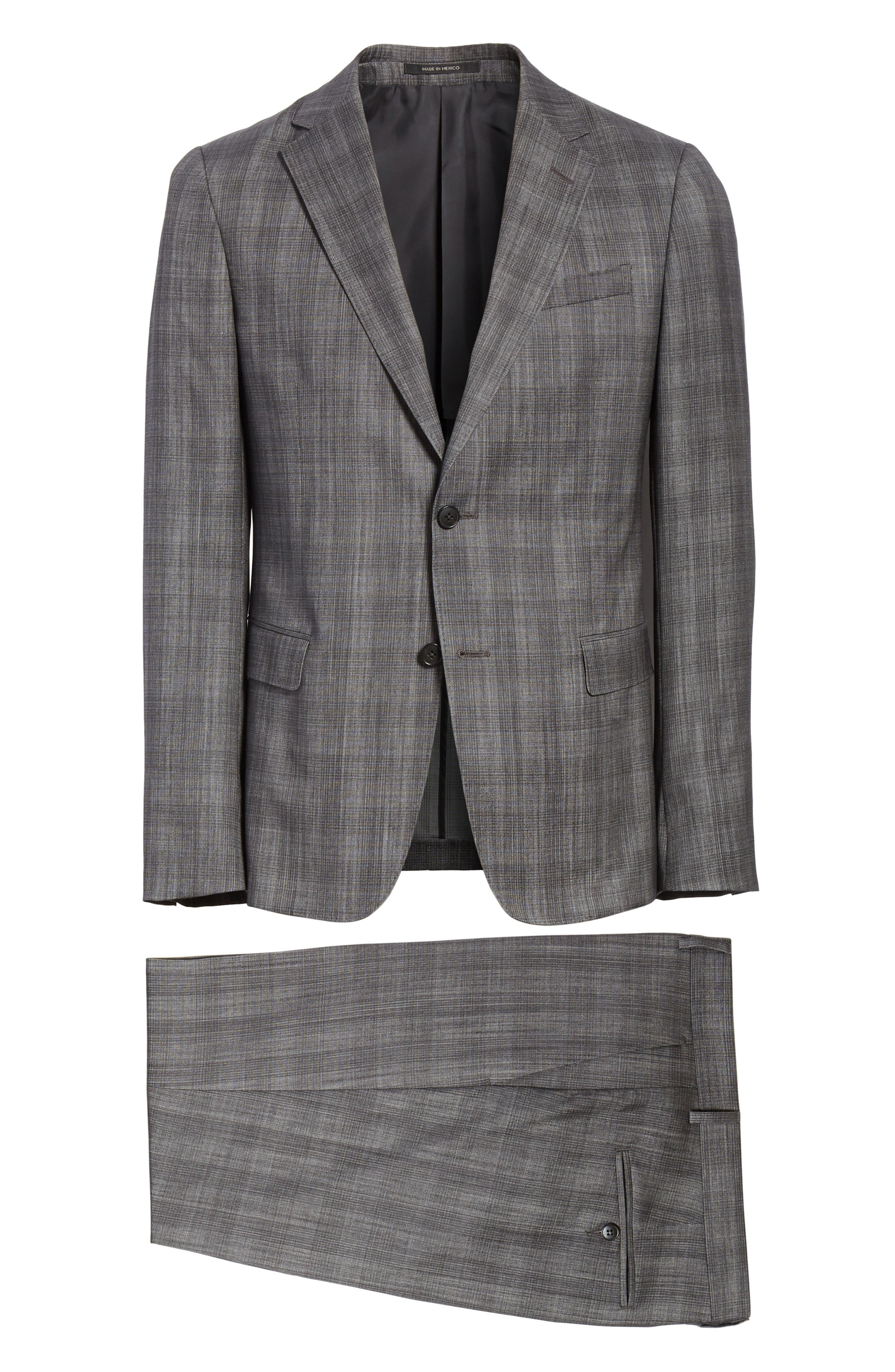 Classic Fit Plaid Wool & Silk Suit,                             Alternate thumbnail 8, color,                             Dark Grey Check
