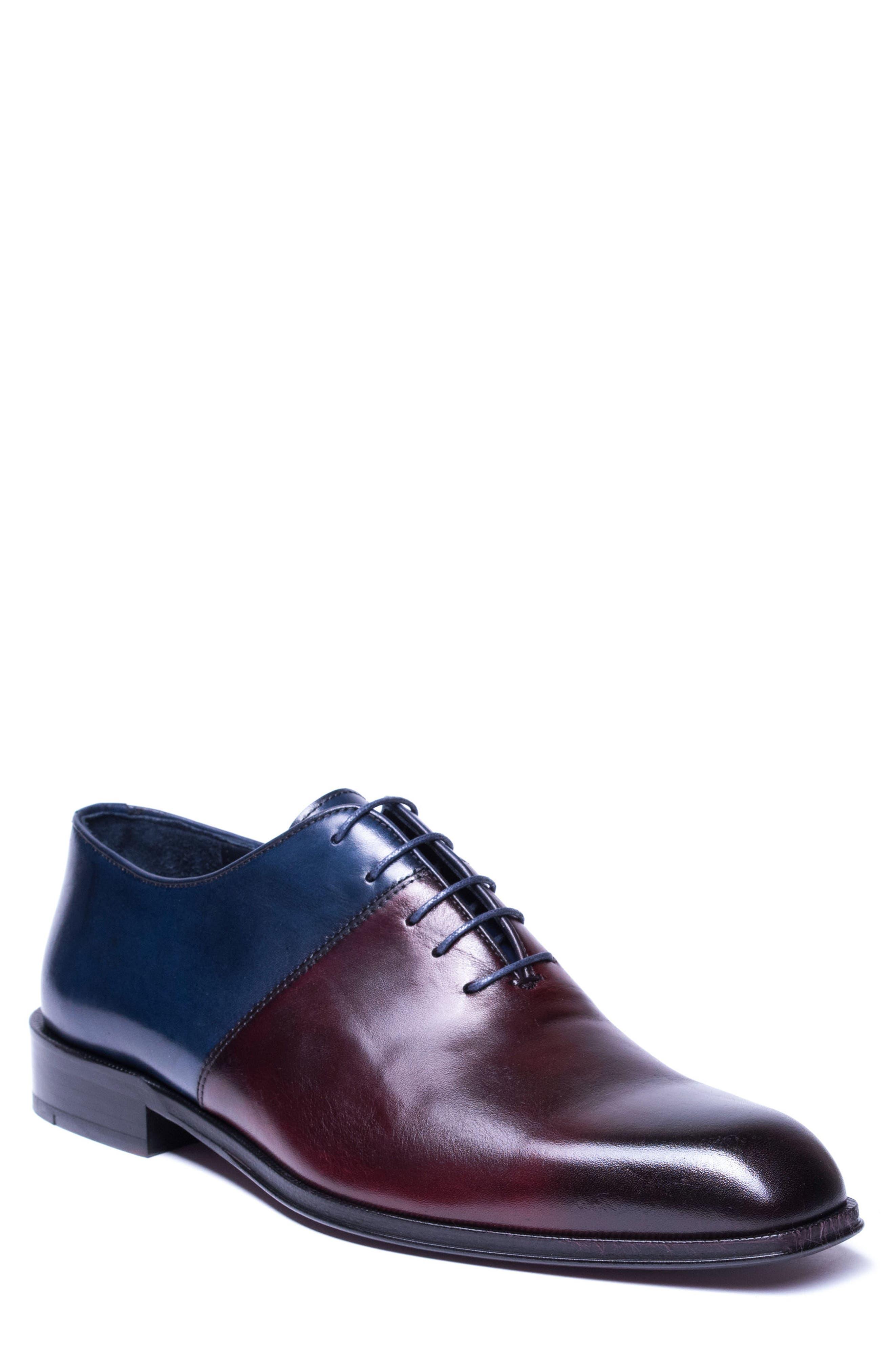 Wyatt Colorblocked Whole Cut Shoe,                             Main thumbnail 1, color,                             Burgundy Leather
