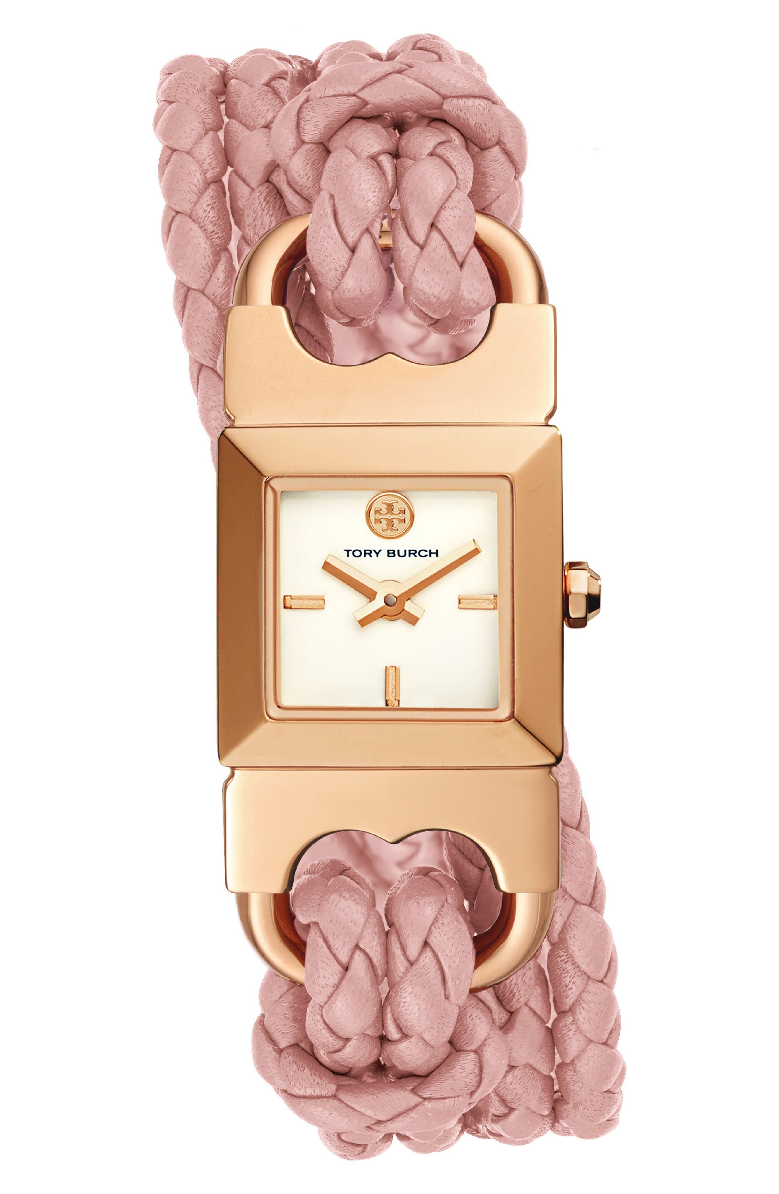 Gemini Link Square Leather Strap Watch, 18mm,                             Main thumbnail 1, color,                             Pink/ Cream/ Gold