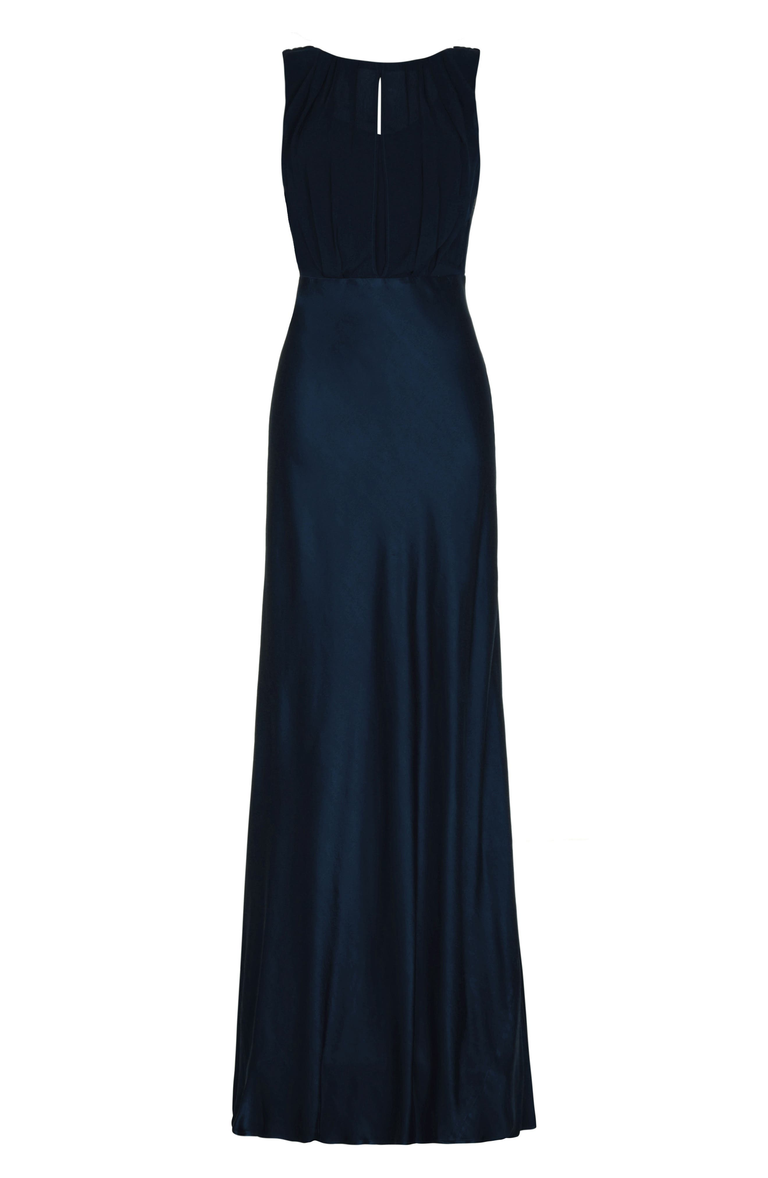 Claudia Cowl Back Gown,                             Alternate thumbnail 3, color,                             Navy