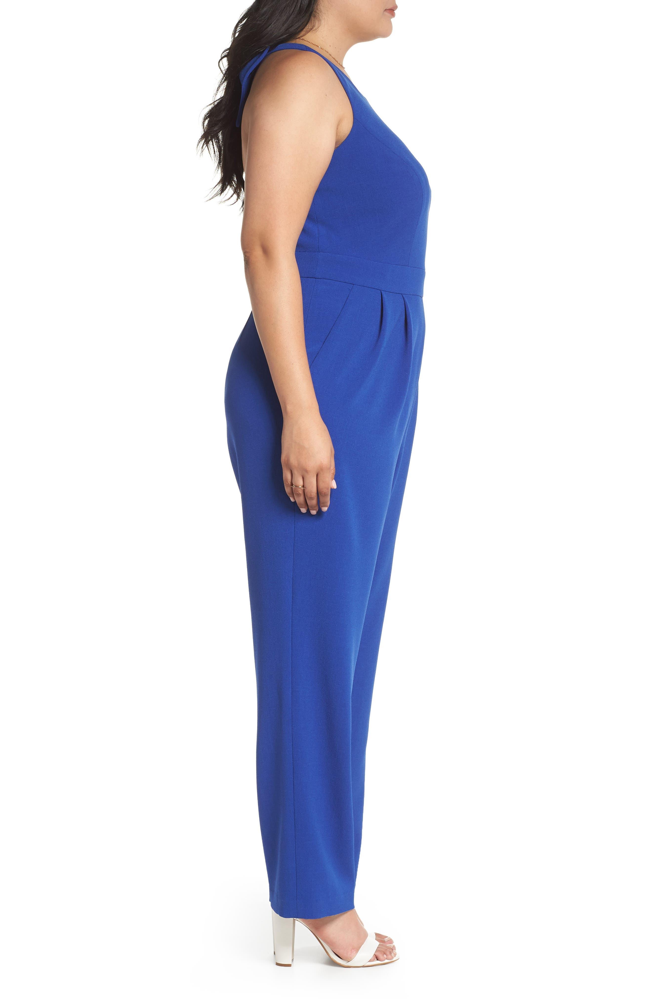 Bow Back Jumpsuit,                             Alternate thumbnail 3, color,                             Blue Mazarine