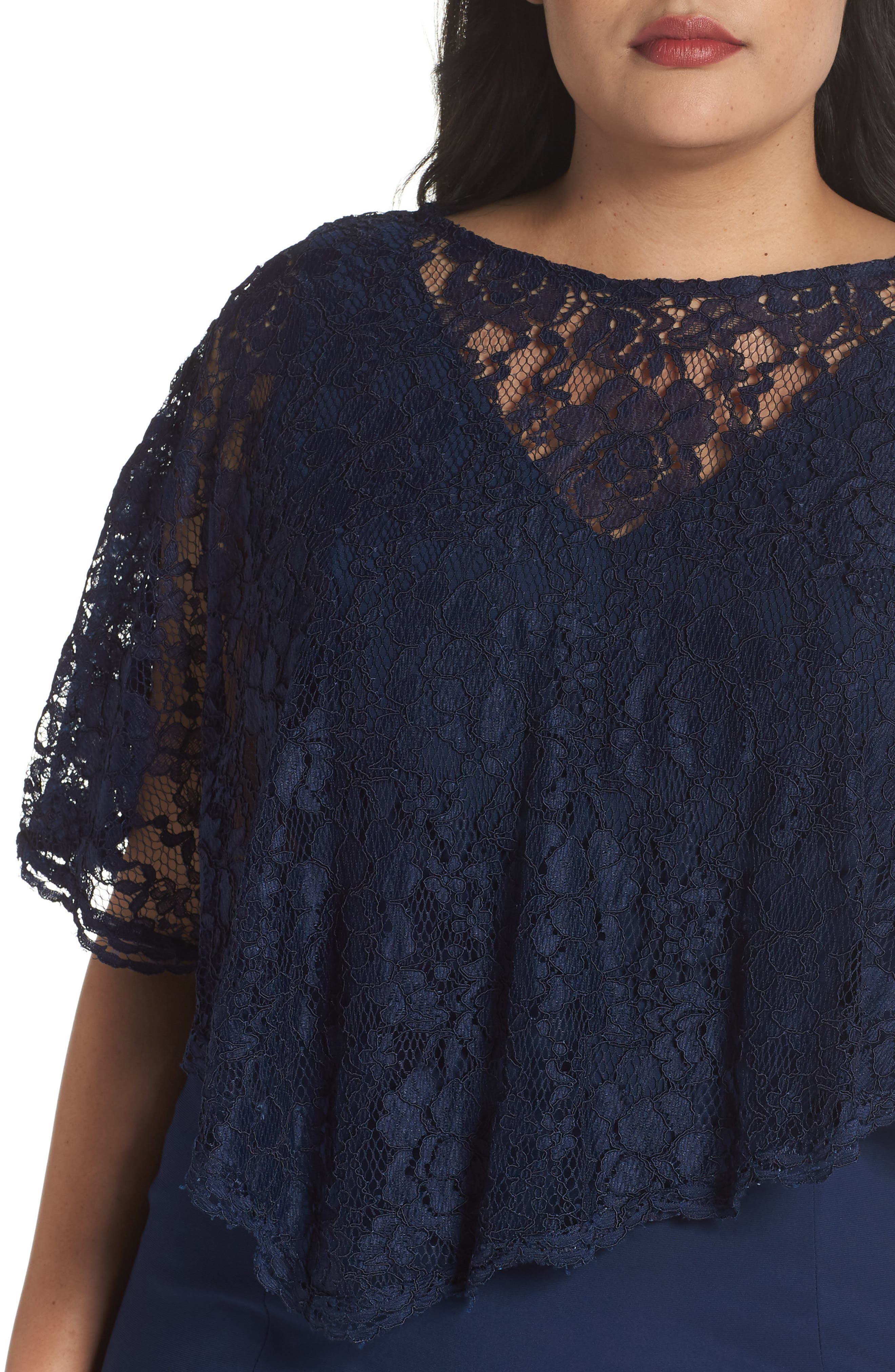 Lace Poncho Dress,                             Alternate thumbnail 4, color,                             Navy