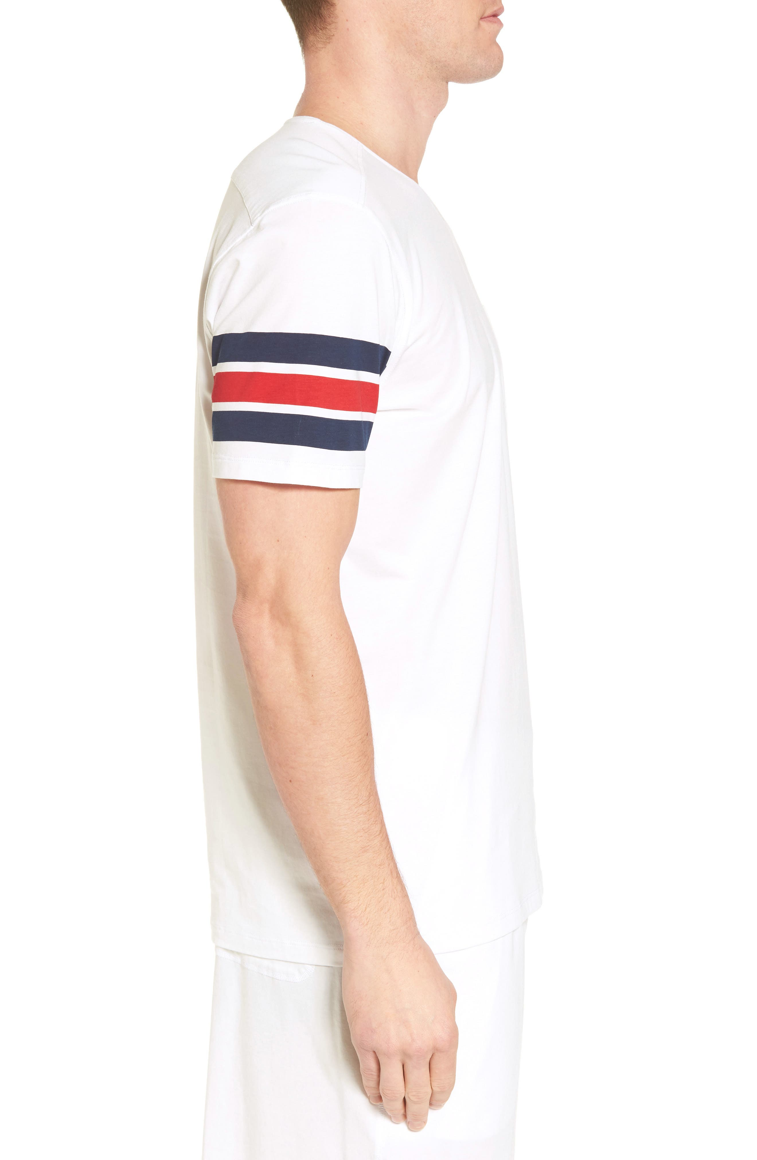 V-Neck Stretch Cotton Blend T-Shirt,                             Alternate thumbnail 3, color,                             Red/ Navy