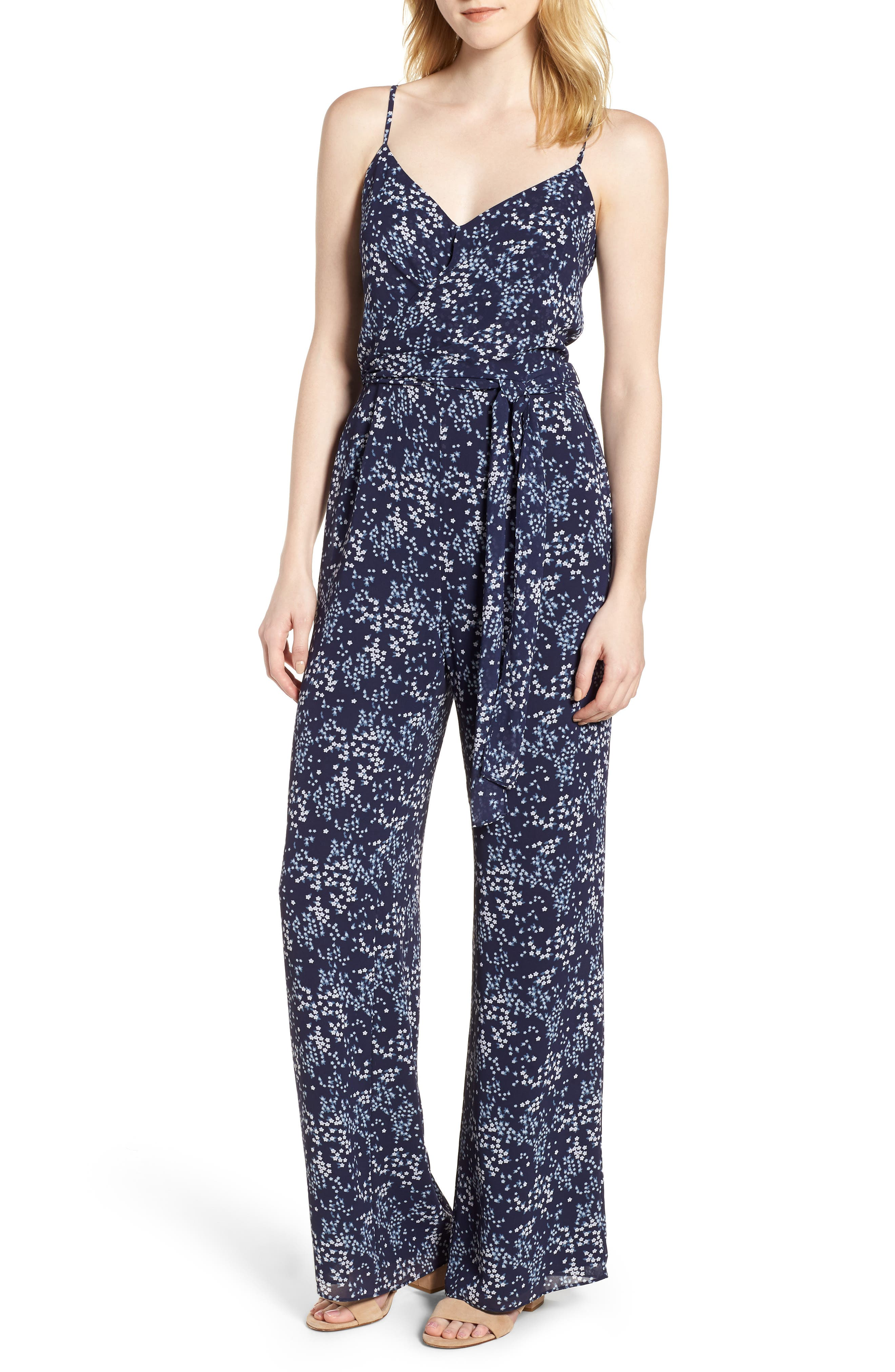 Scattered Blooms Jumpsuit,                             Main thumbnail 1, color,                             True Navy/ Light Chambray