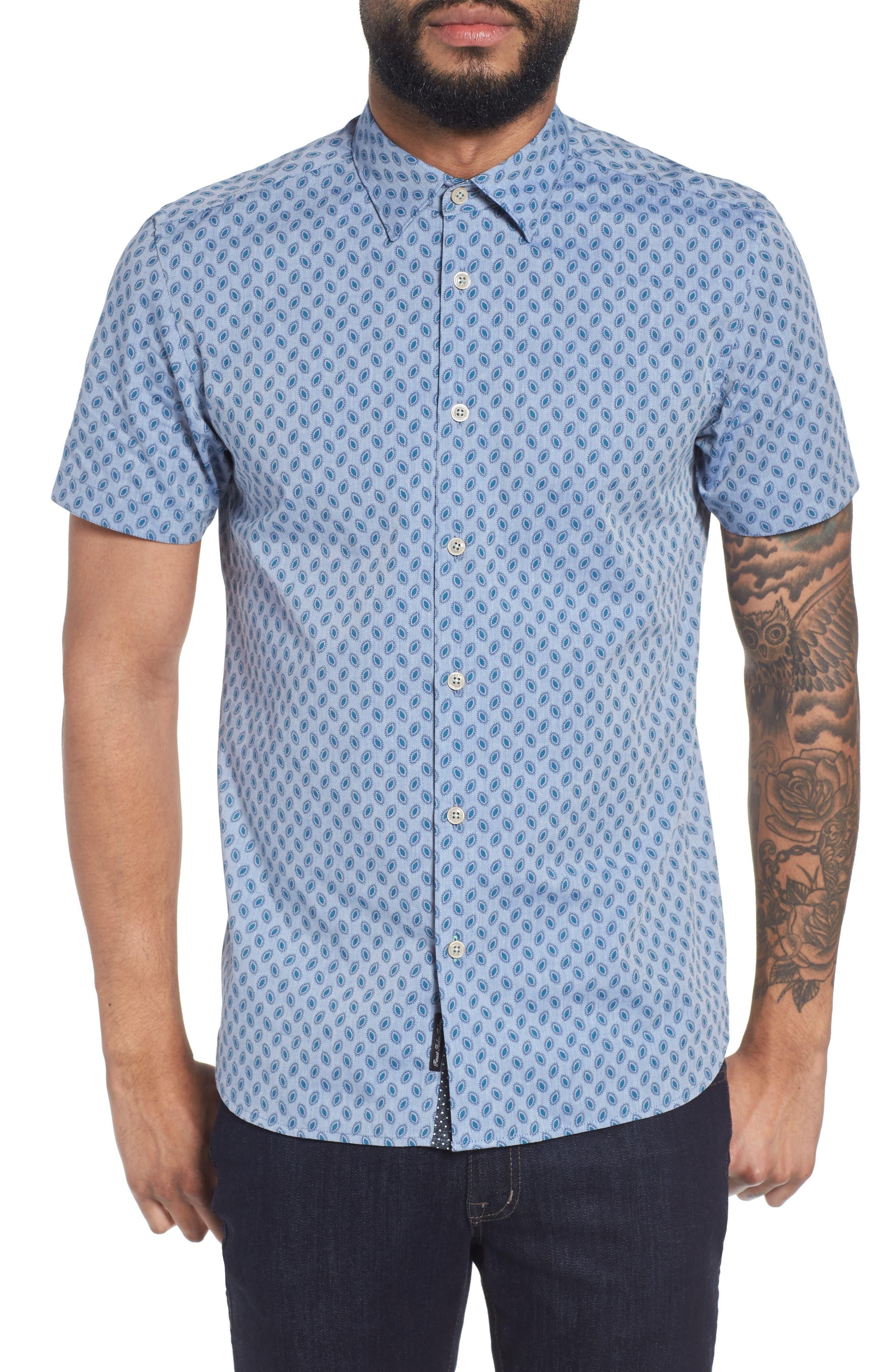 Newfott Extra Slim Fit Short Sleeve Sport Shirt,                         Main,                         color, Blue