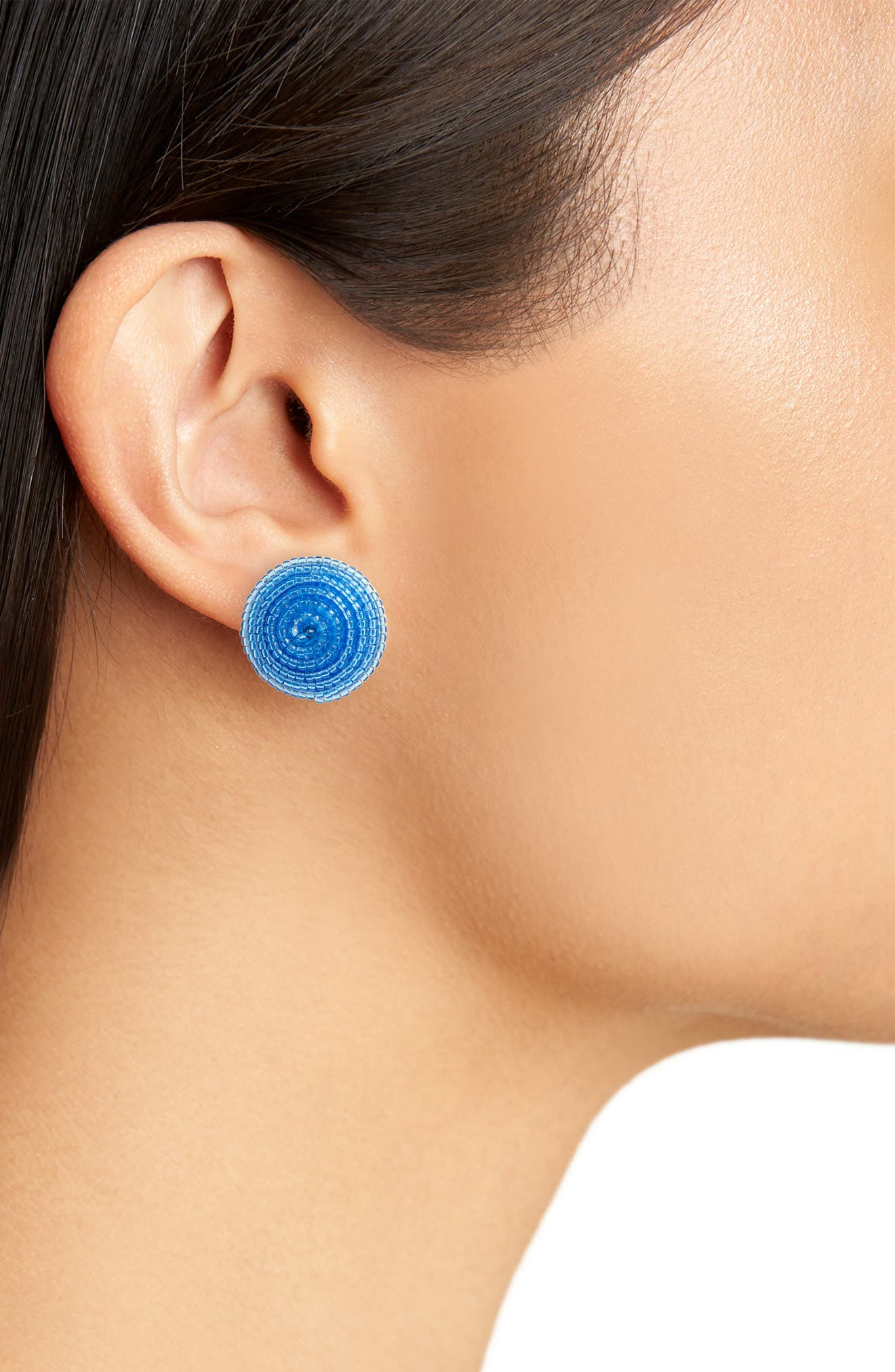 the bead goes on button stud earrings,                             Alternate thumbnail 2, color,                             Blue