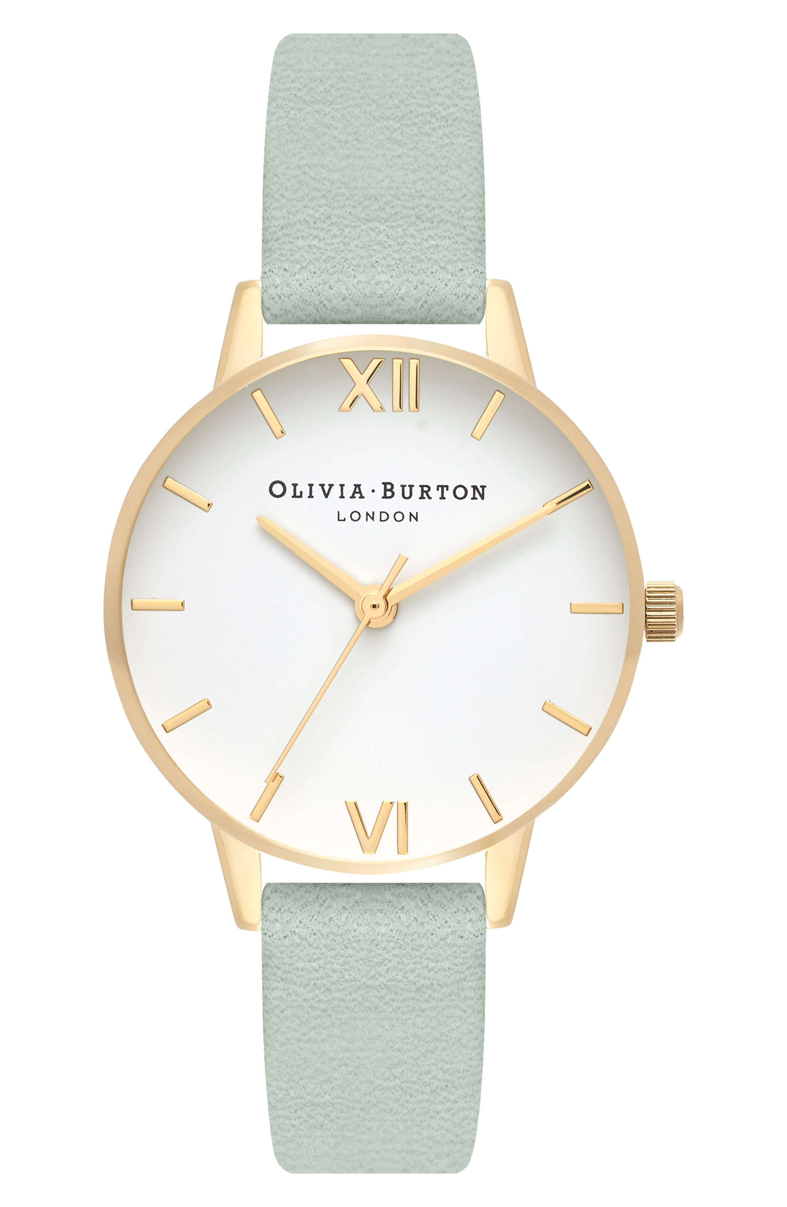 Leather Strap Watch, 30mm,                             Main thumbnail 1, color,                             Sage/ White/ Gold