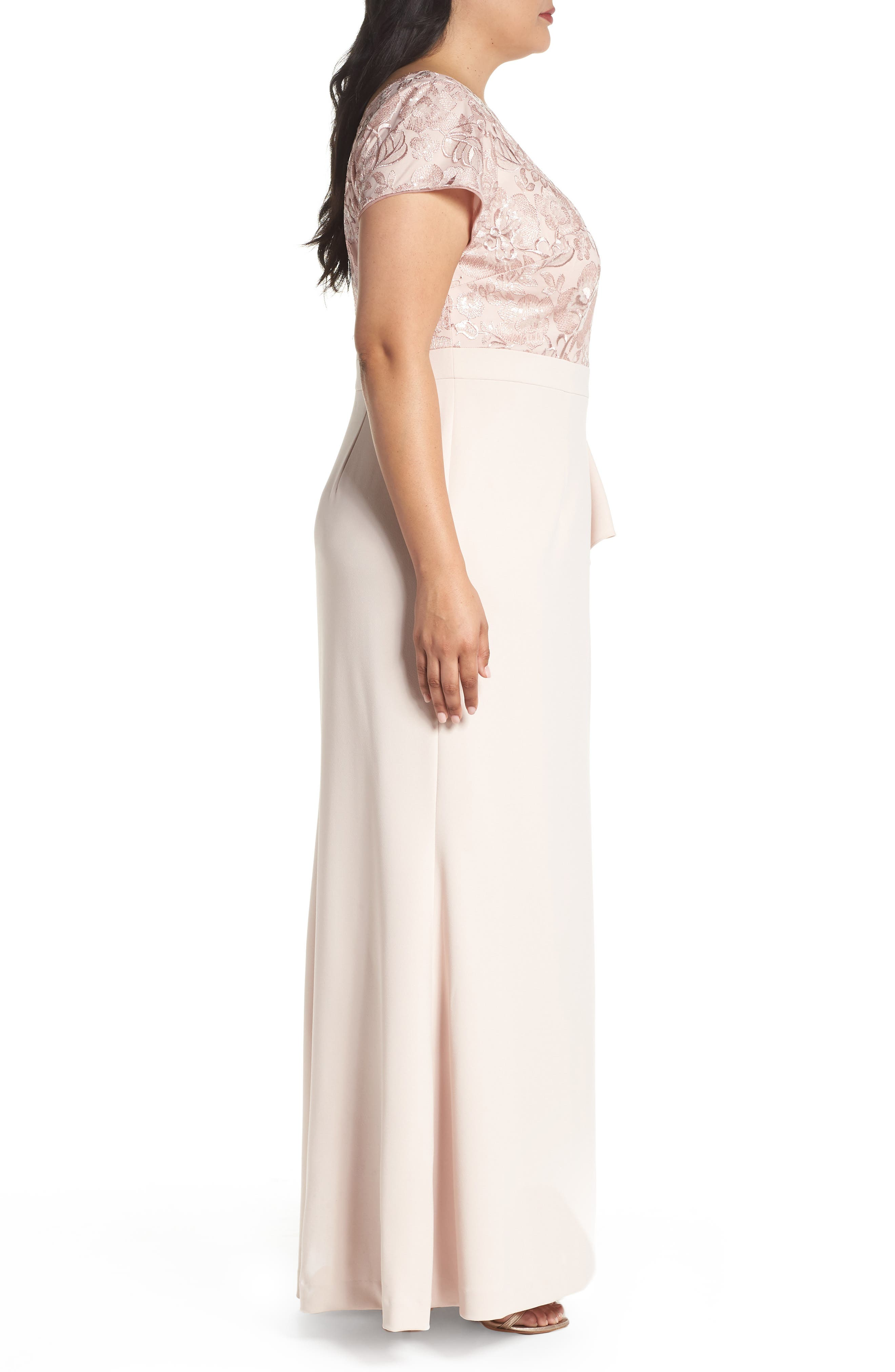 Sequin Embroidered Bodice Gown,                             Alternate thumbnail 3, color,                             Blush