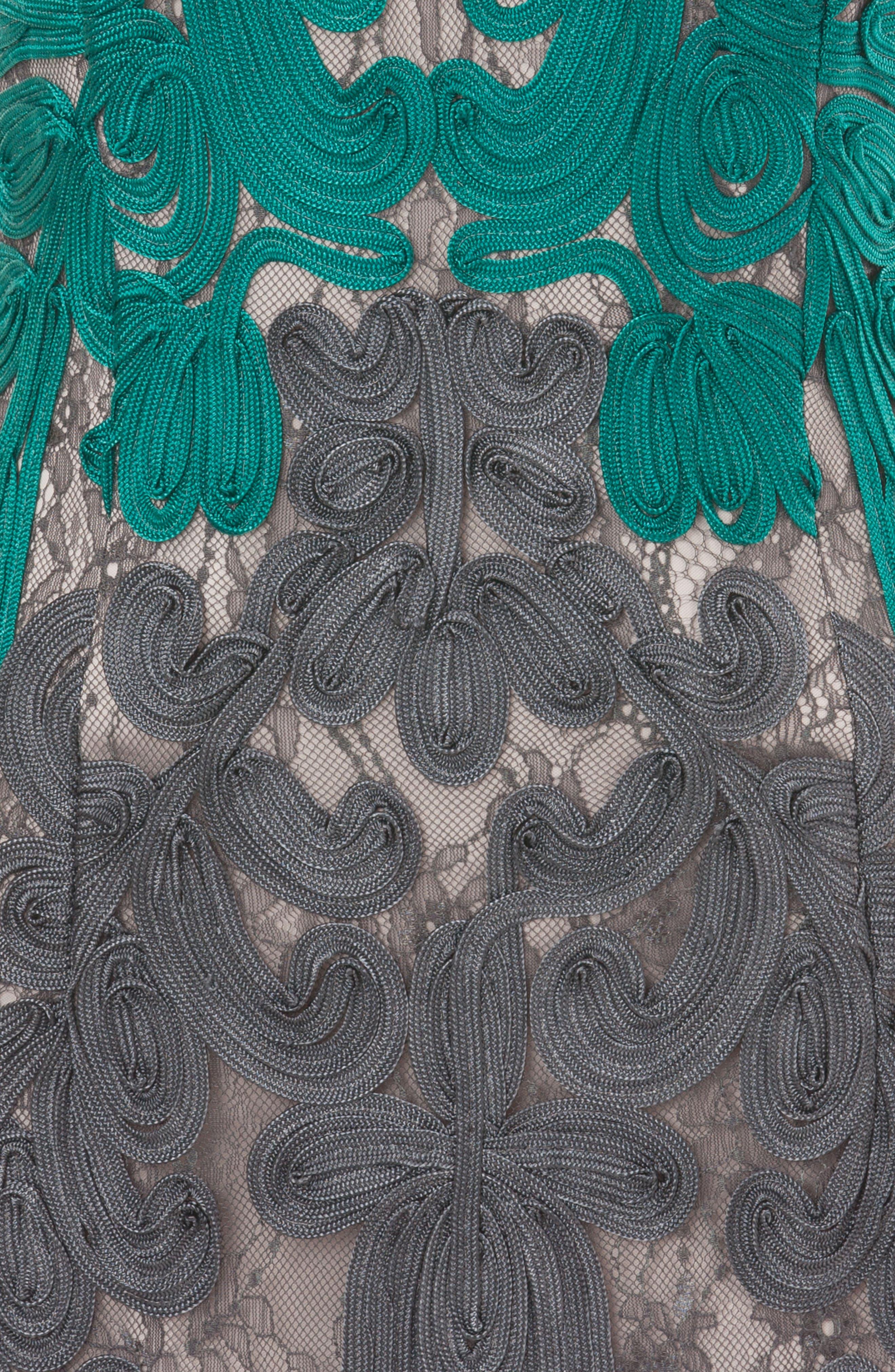 Soutache Lace Midi Dress,                             Alternate thumbnail 3, color,                             Teal/ Grey