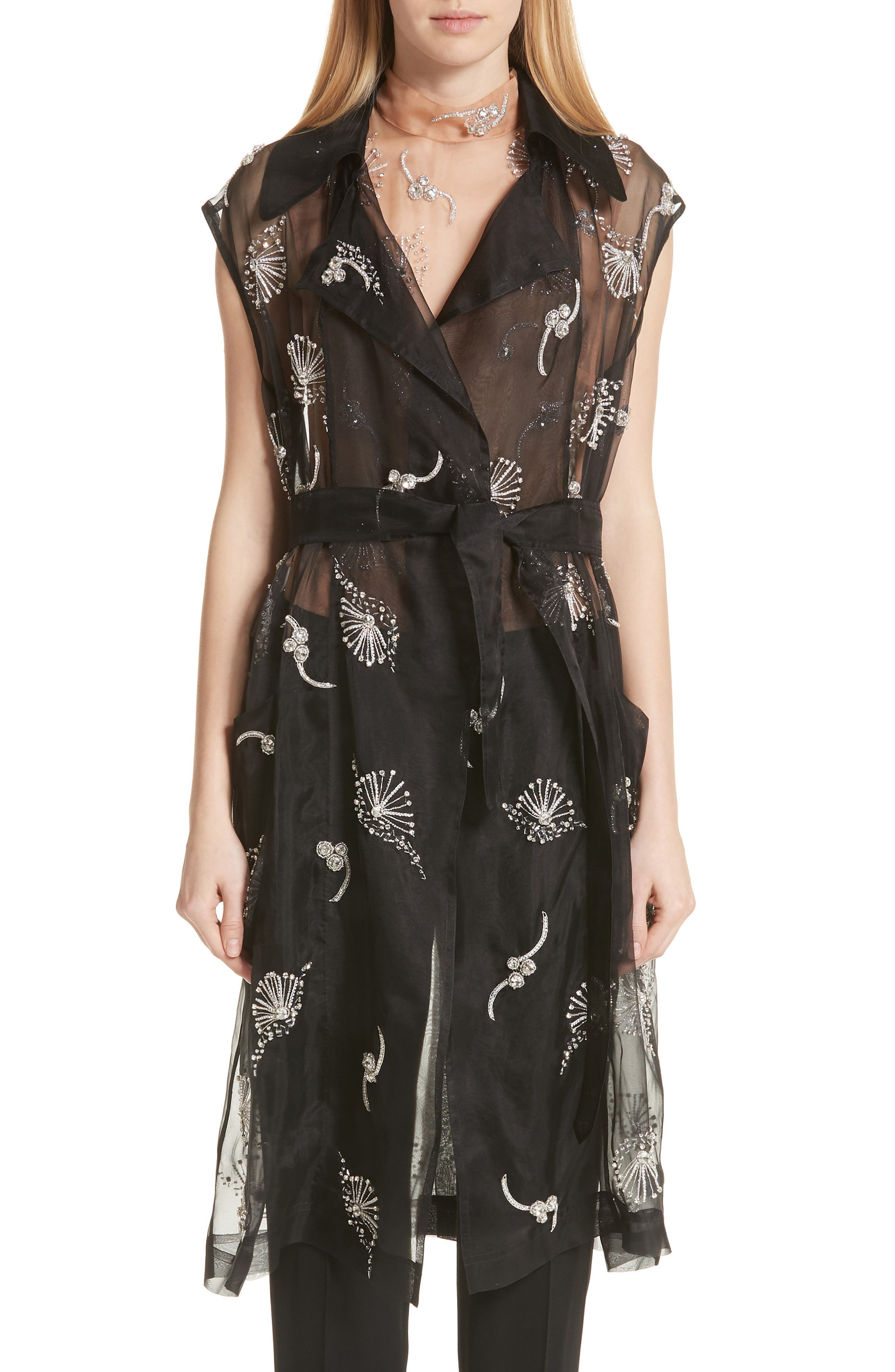 Dries Van Noten Embroidered Silk Sheer Vest