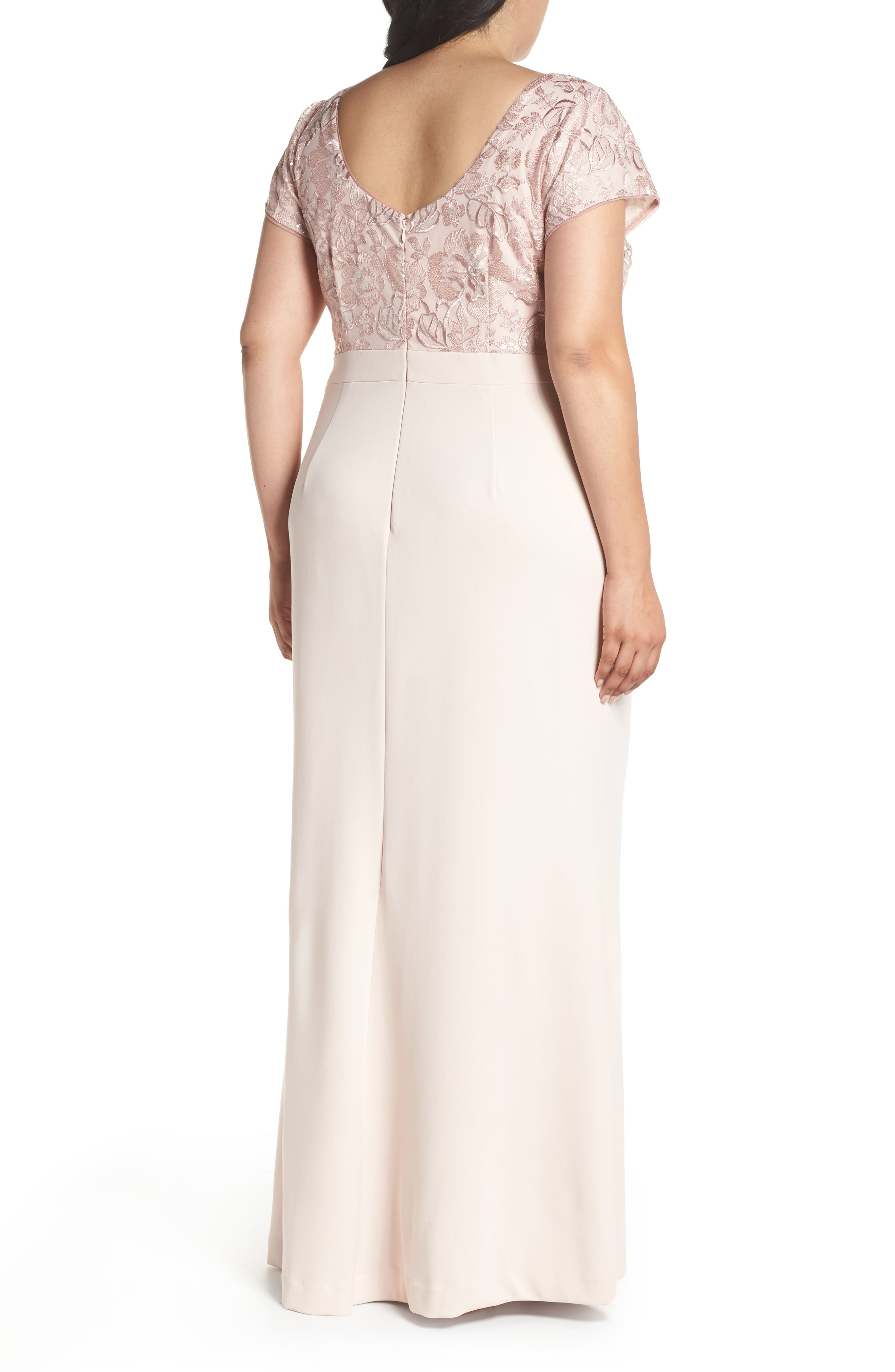 Sequin Embroidered Bodice Gown,                             Alternate thumbnail 2, color,                             Blush