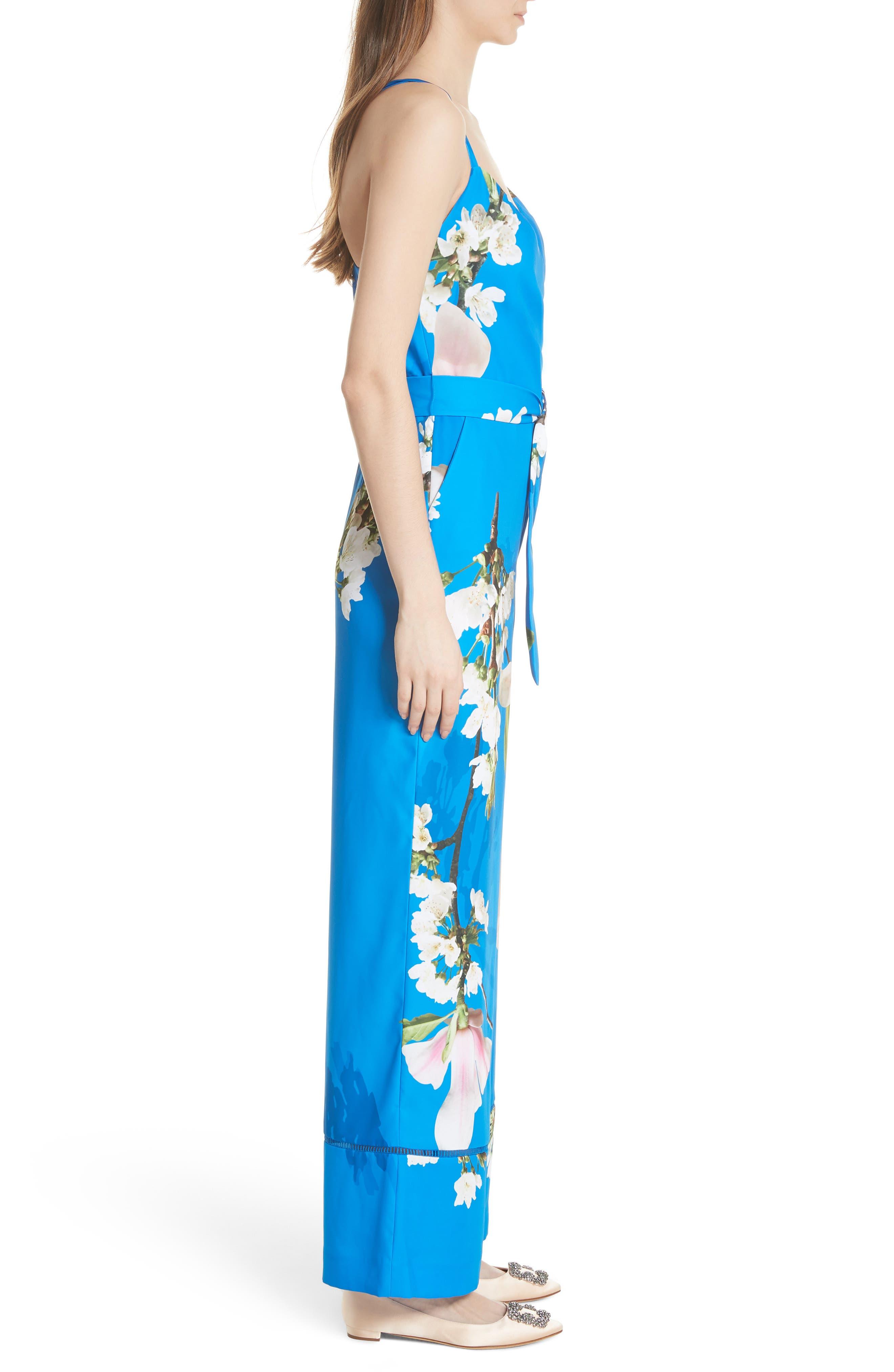 Harmony Wrap Front Floral Jumpsuit,                             Alternate thumbnail 3, color,                             Bright Blue