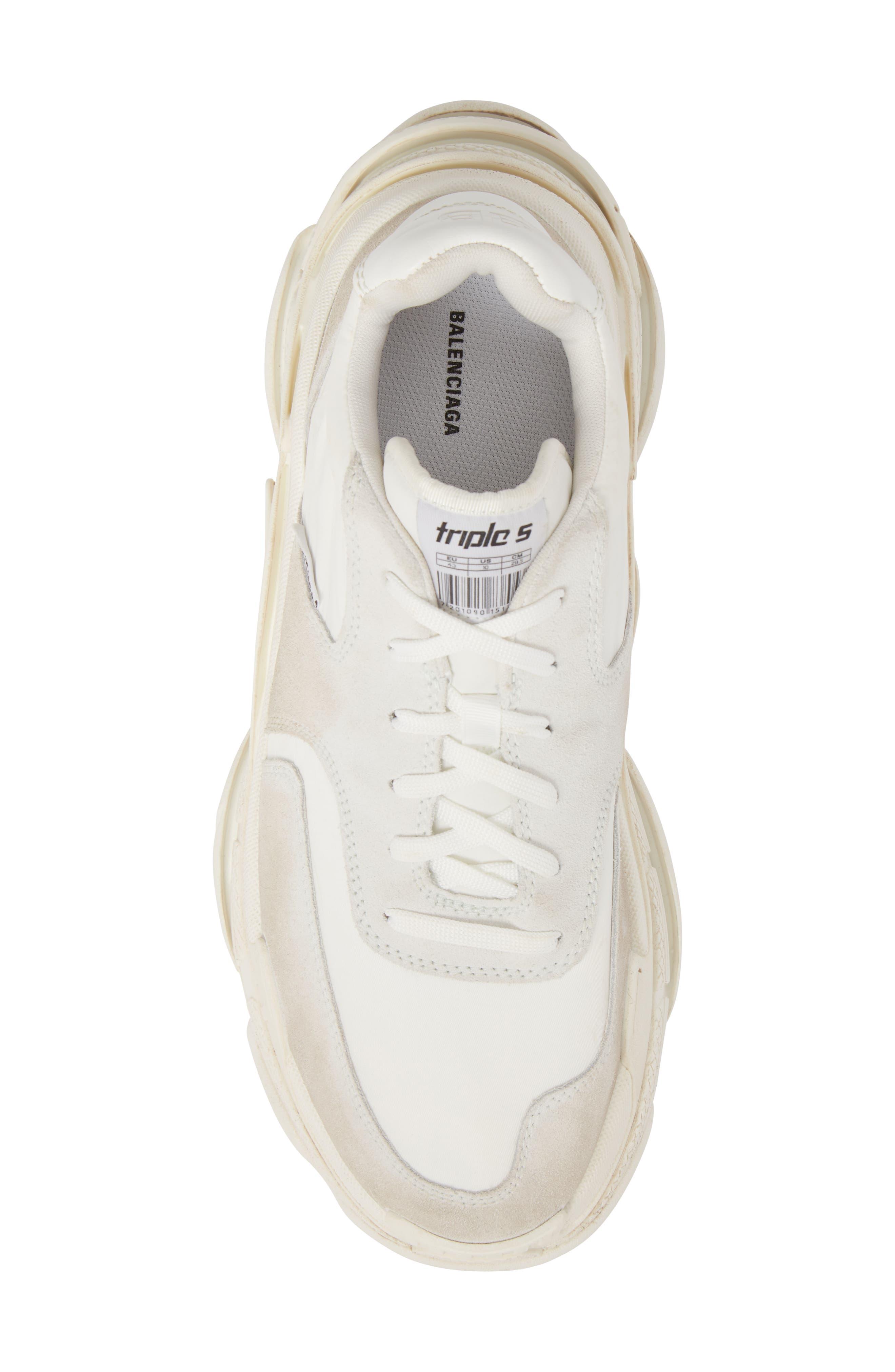Triple S Retro Sneaker,                             Alternate thumbnail 5, color,                             Blanc White