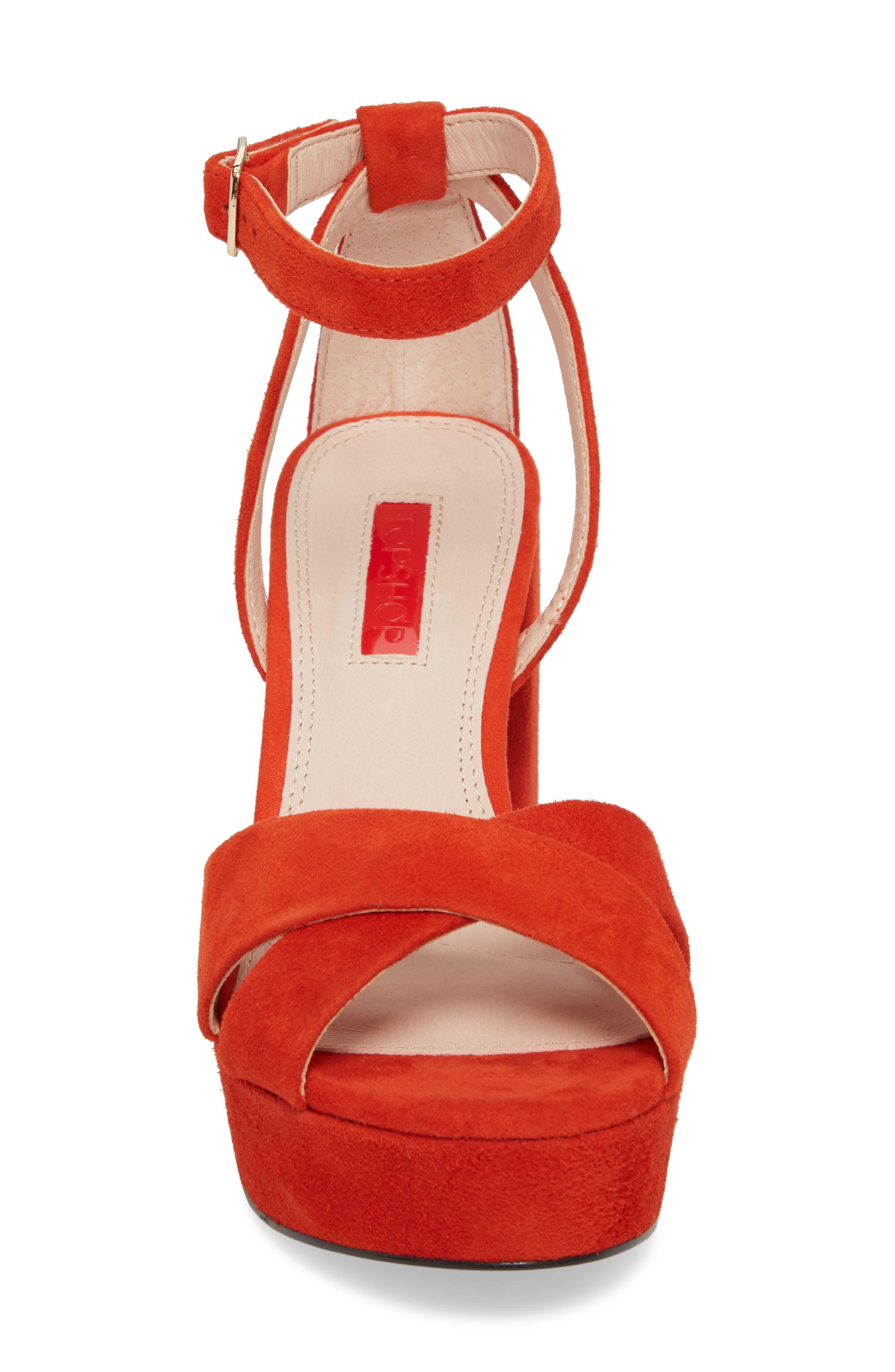Leah Cross Strap Platform Sandal,                             Alternate thumbnail 4, color,                             Orange