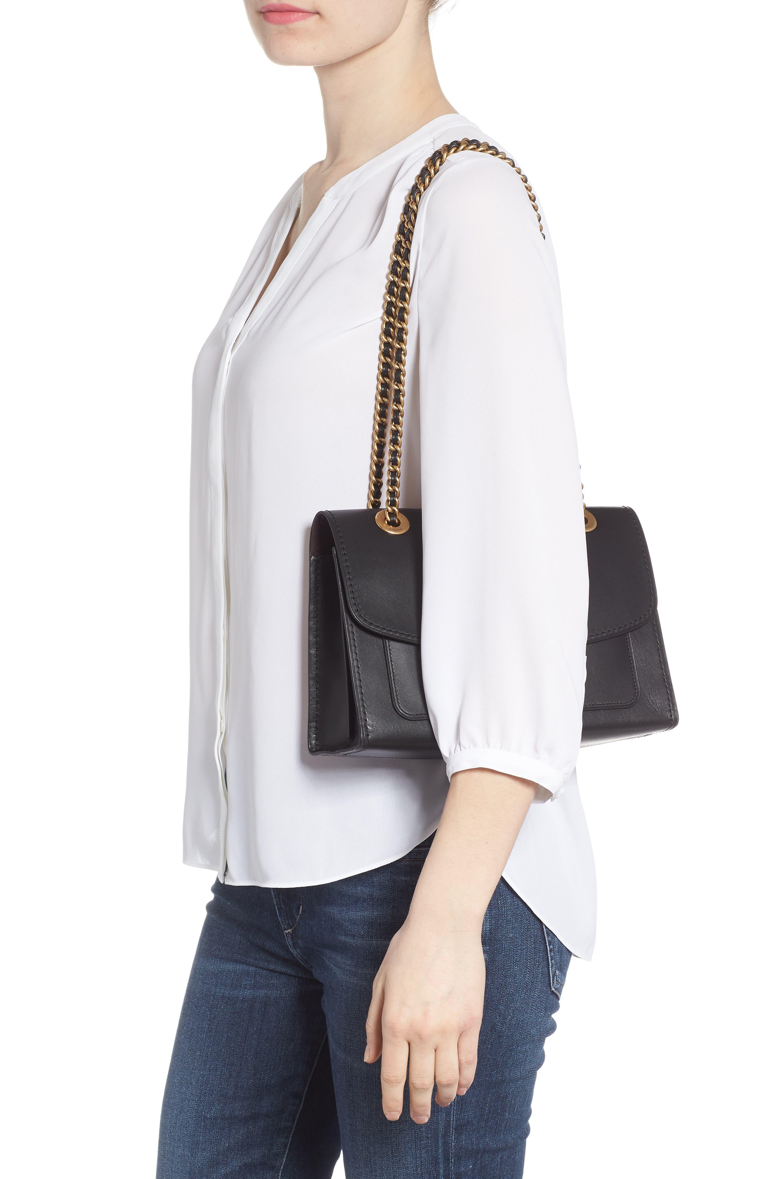 Parker Leather Shoulder Bag,                             Alternate thumbnail 2, color,                             Black