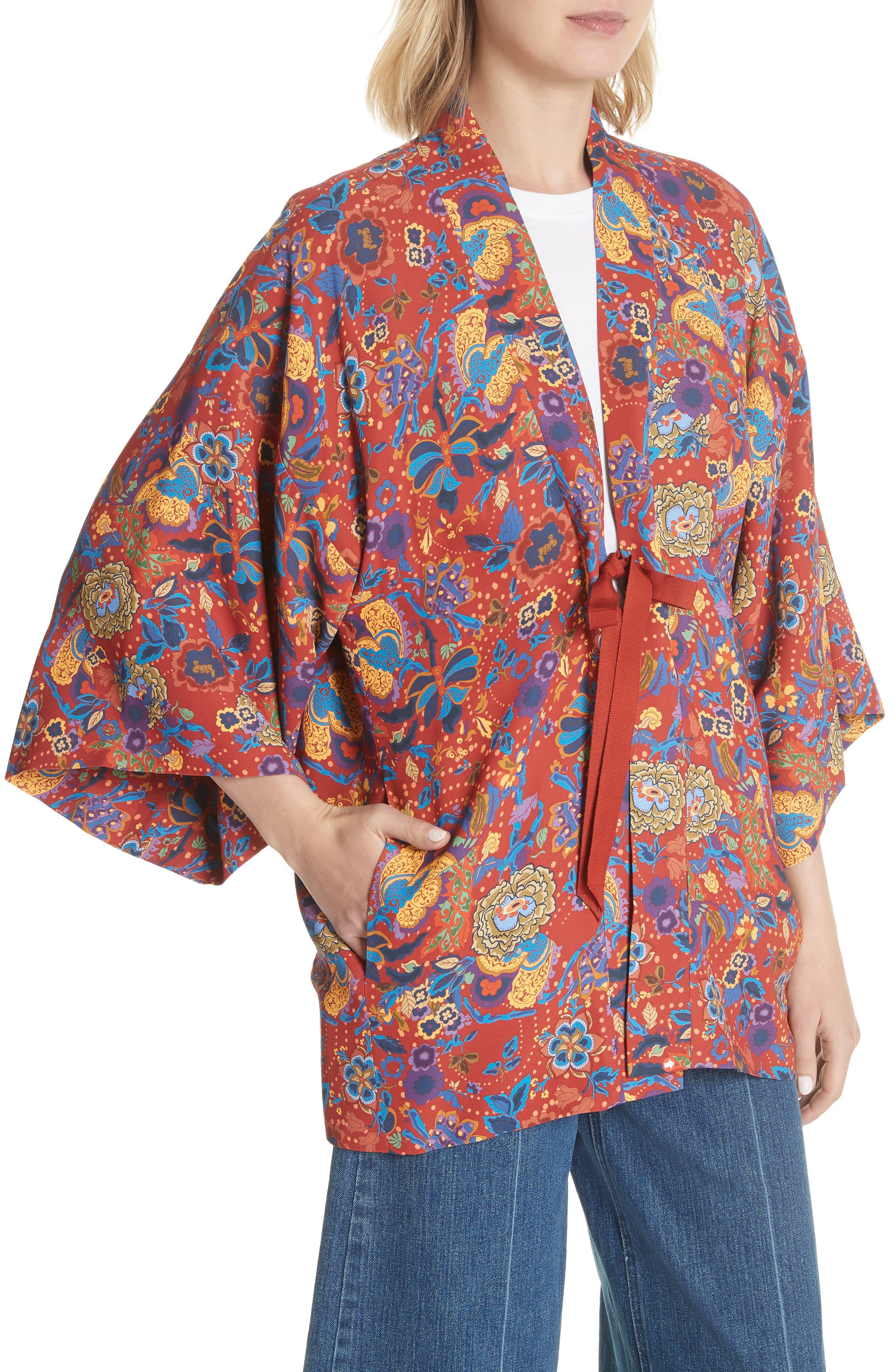 Drew Crop Sleeve Kimono,                             Alternate thumbnail 4, color,                             Tangerine