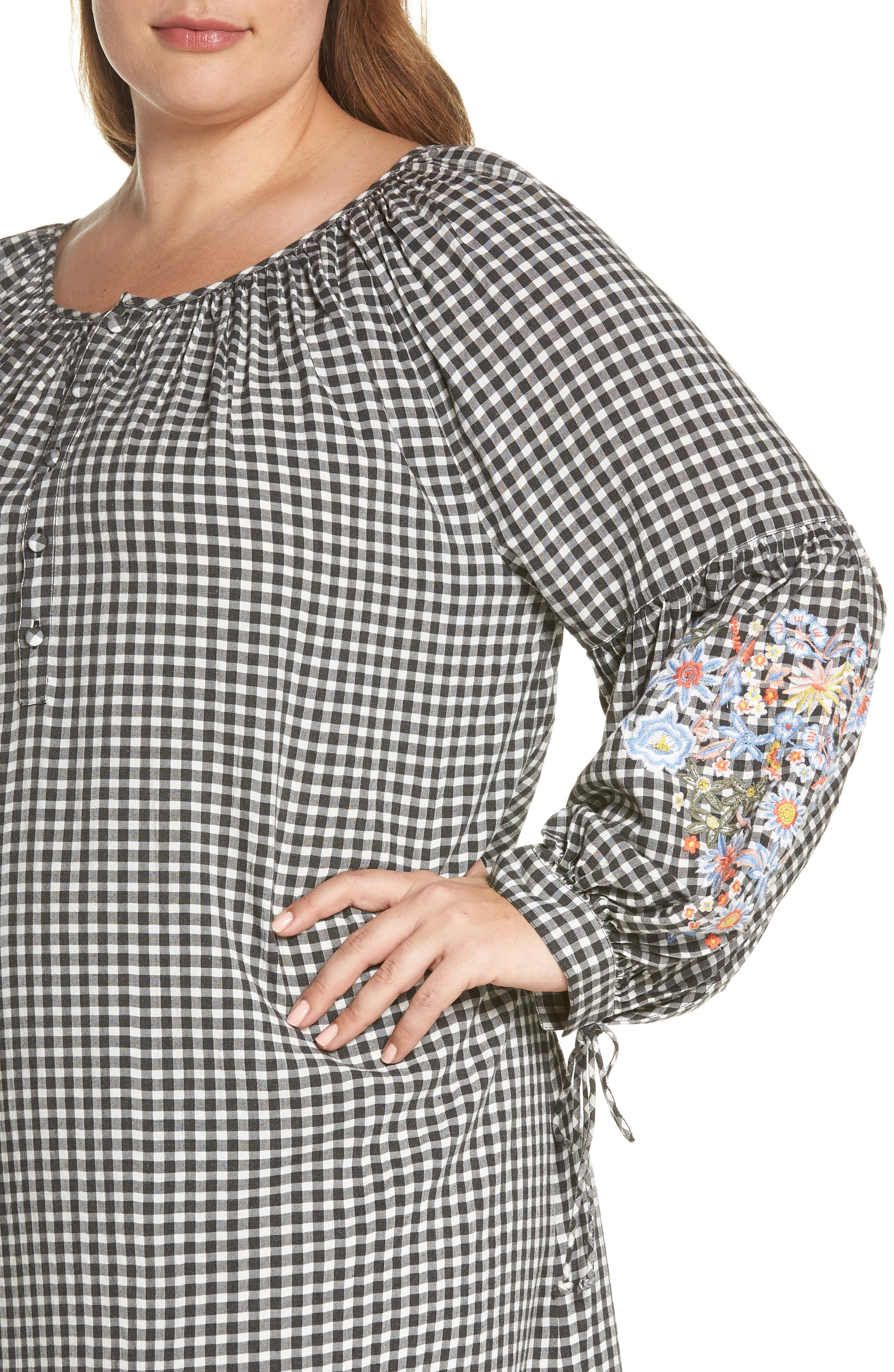 Embroidered Puff Sleeve Gingham Shift Dress,                             Alternate thumbnail 6, color,                             Black-White Gingham