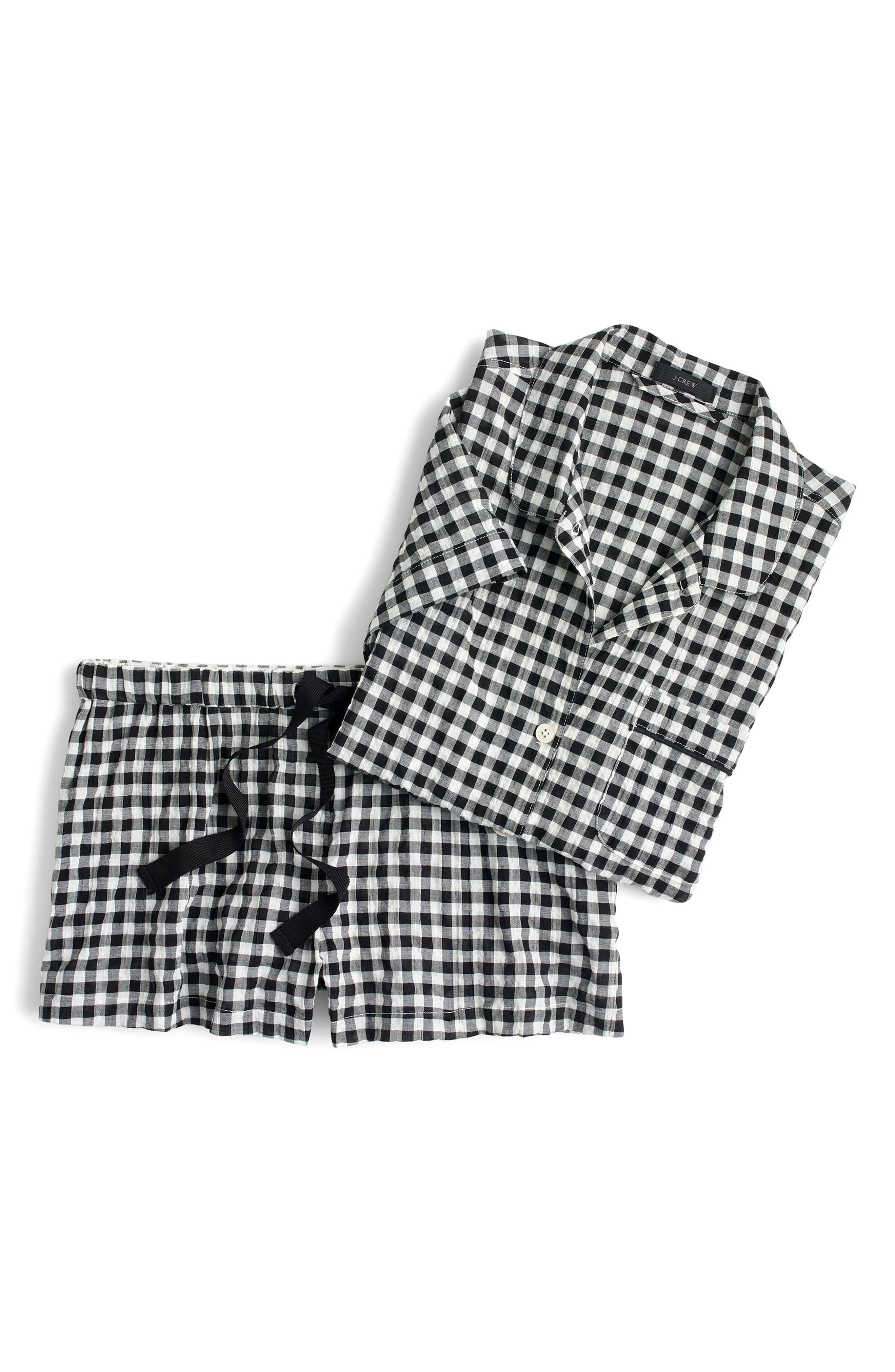 J.Crew Gingham Pajama Set,                         Main,                         color, Ivory Black