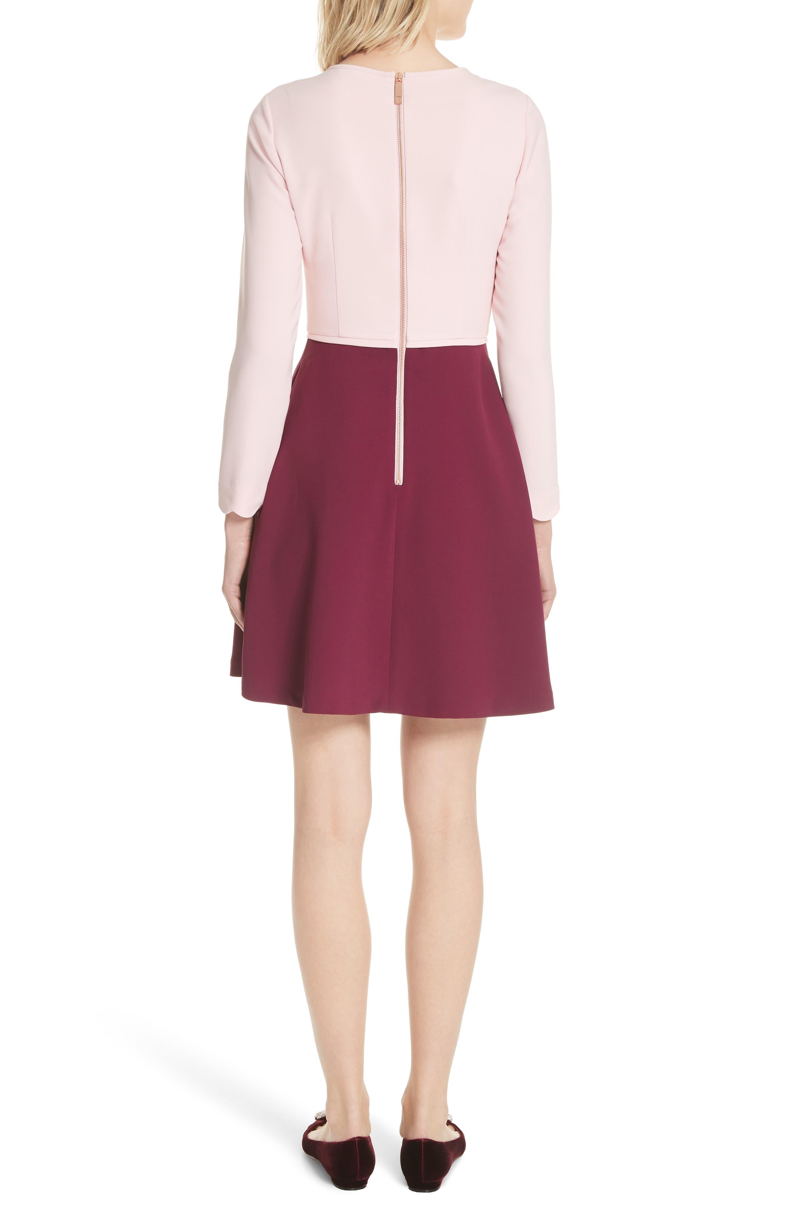 Scalloped A-Line Dress,                             Alternate thumbnail 2, color,                             Dusky Pink