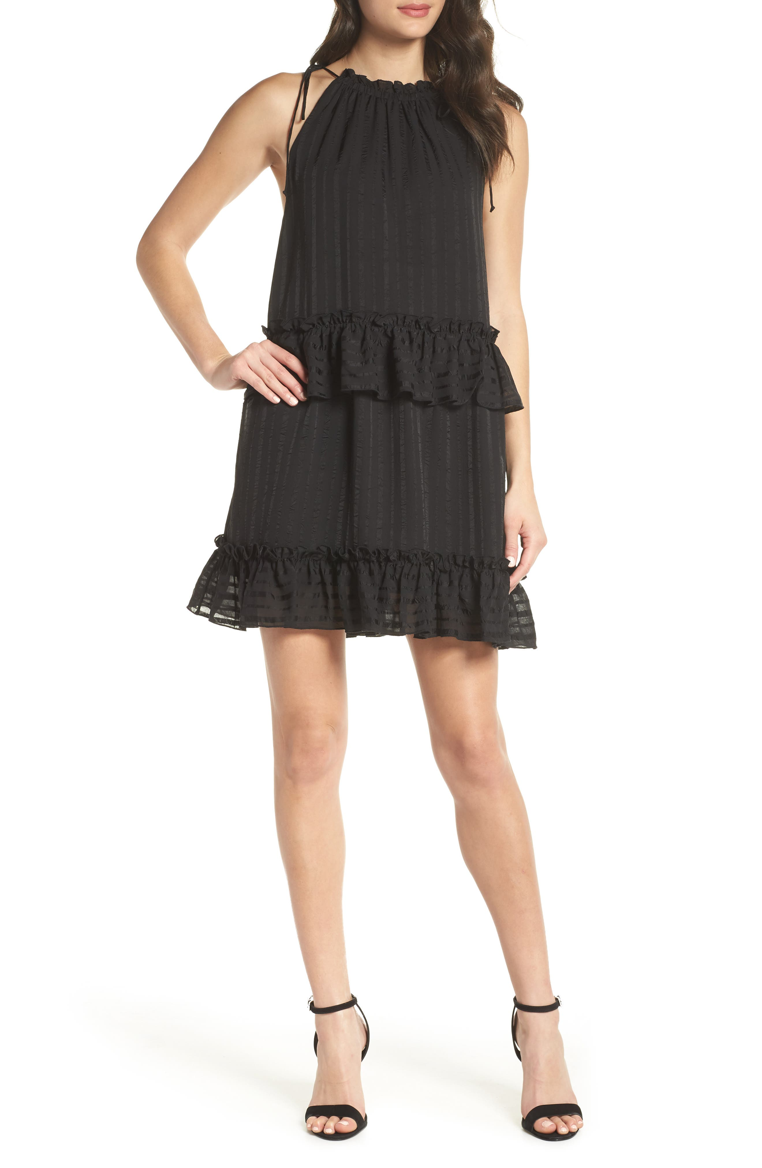 Lila Stripe Chiffon Halter Dress,                             Main thumbnail 1, color,                             Black