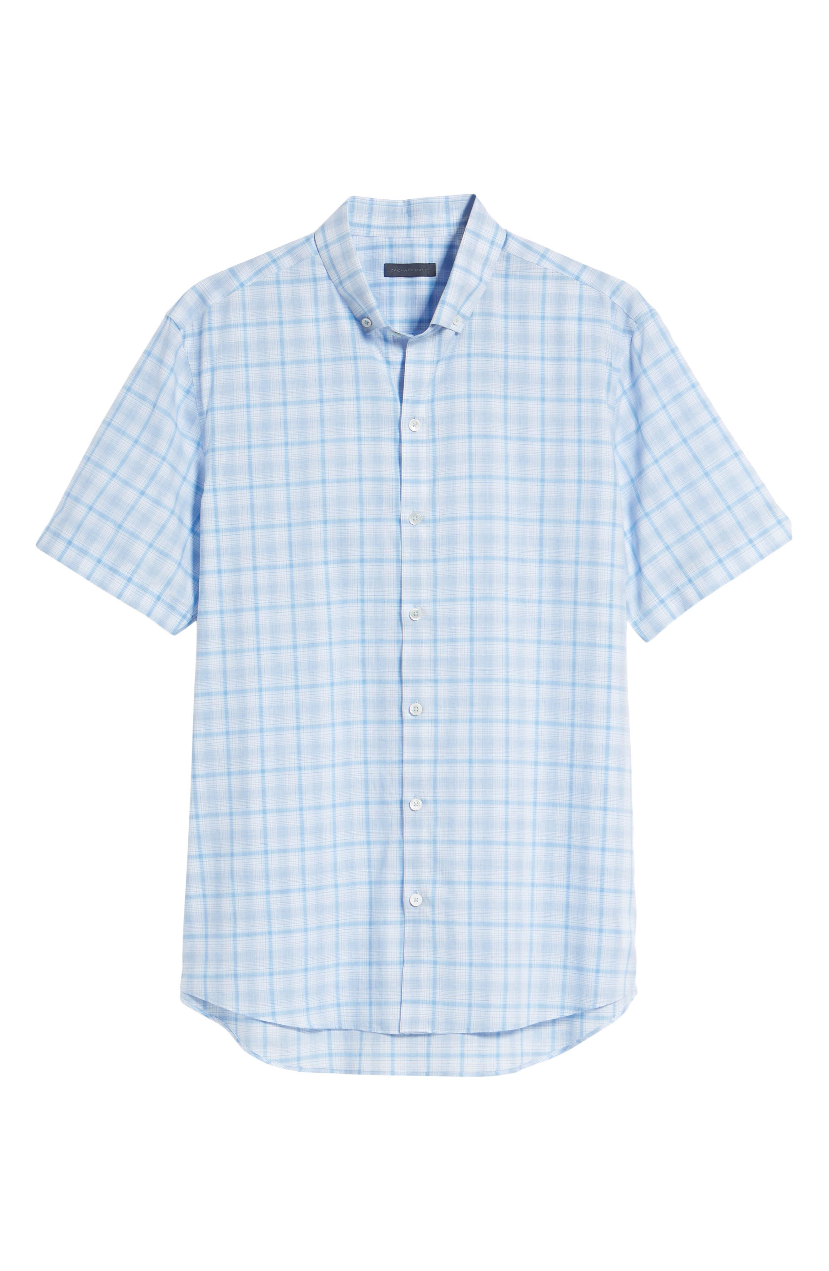 Kin Trim Fit Grid Plaid Sport Shirt,                             Alternate thumbnail 6, color,                             Light Blue