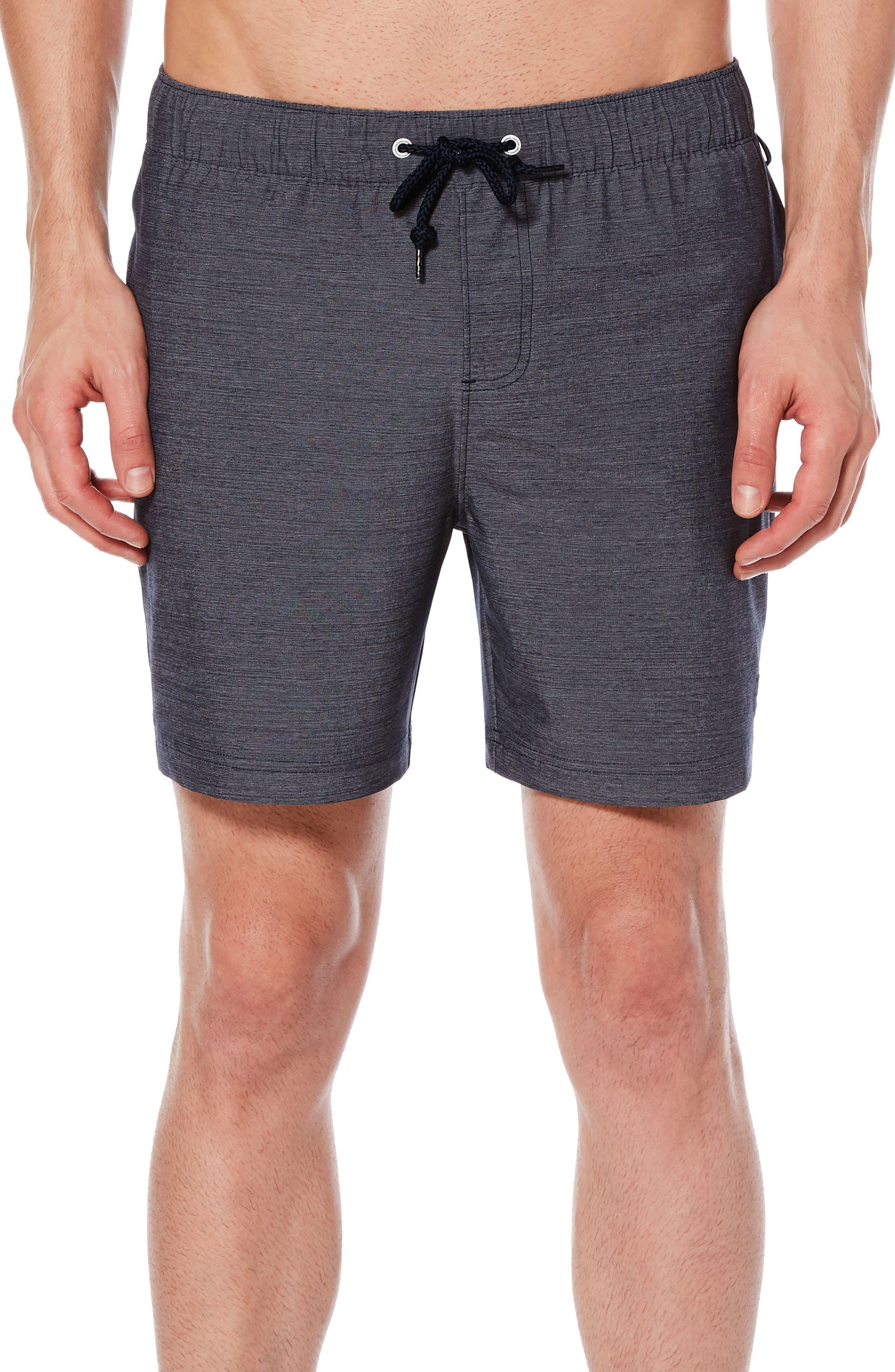 Heathered Elastic Stretch Board Shorts,                         Main,                         color, Dark Sapphire