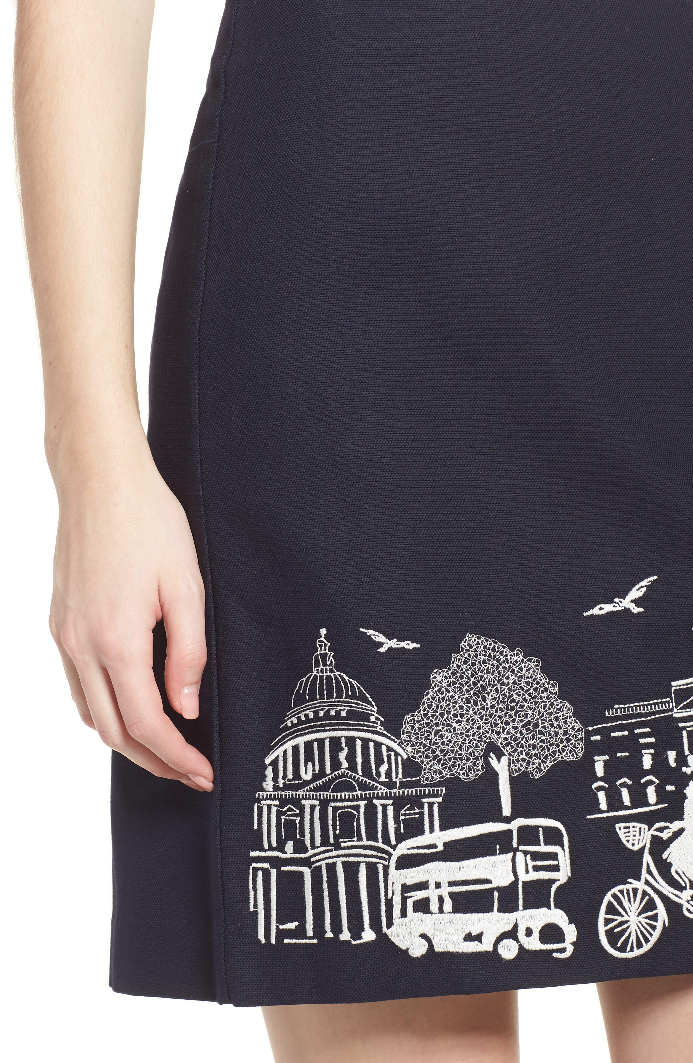 Tilda Embroidered Cotton Skirt,                             Alternate thumbnail 4, color,                             Navy