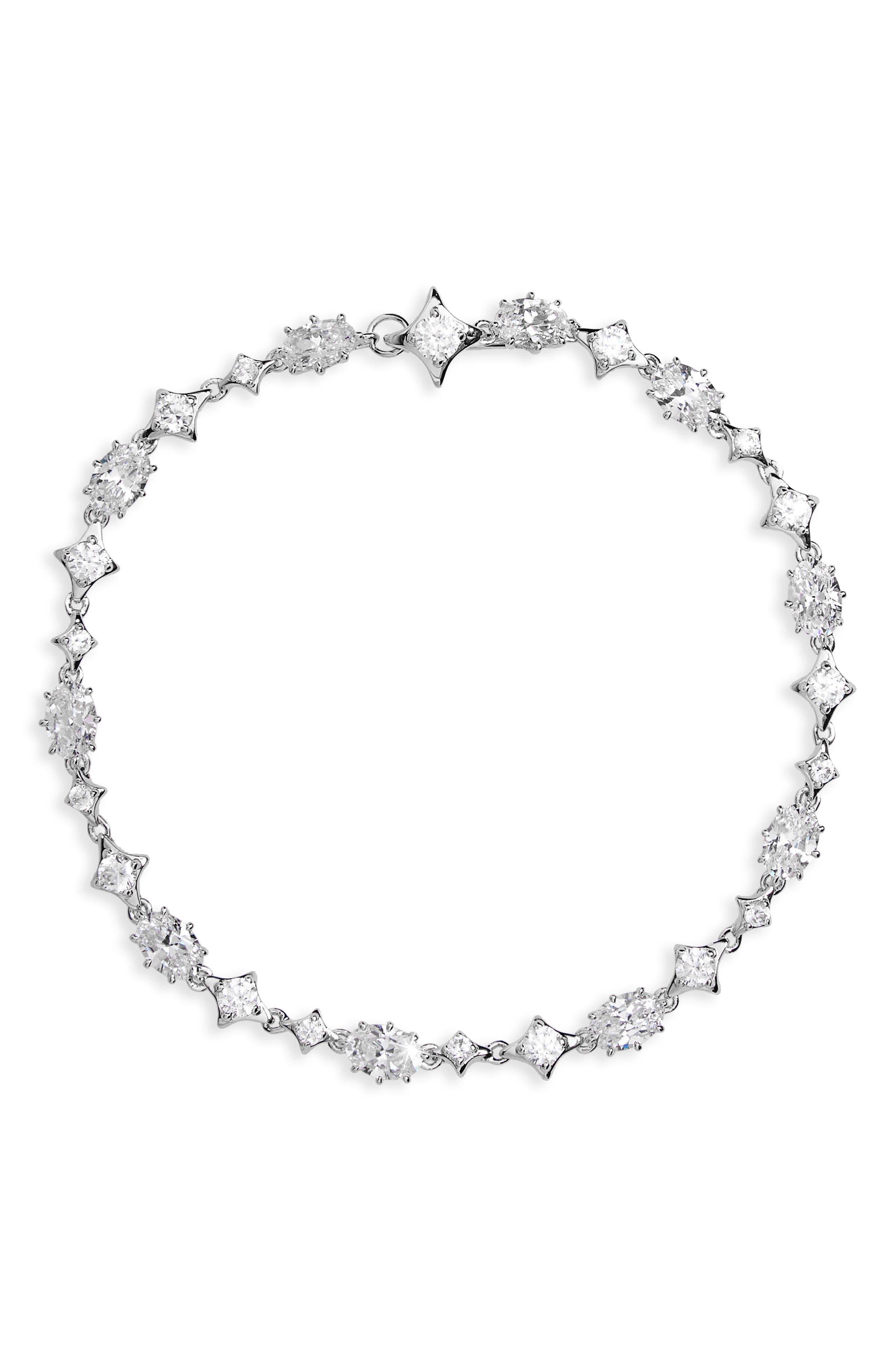 Boho Sparkle Bracelet,                         Main,                         color, Silver/ Clear