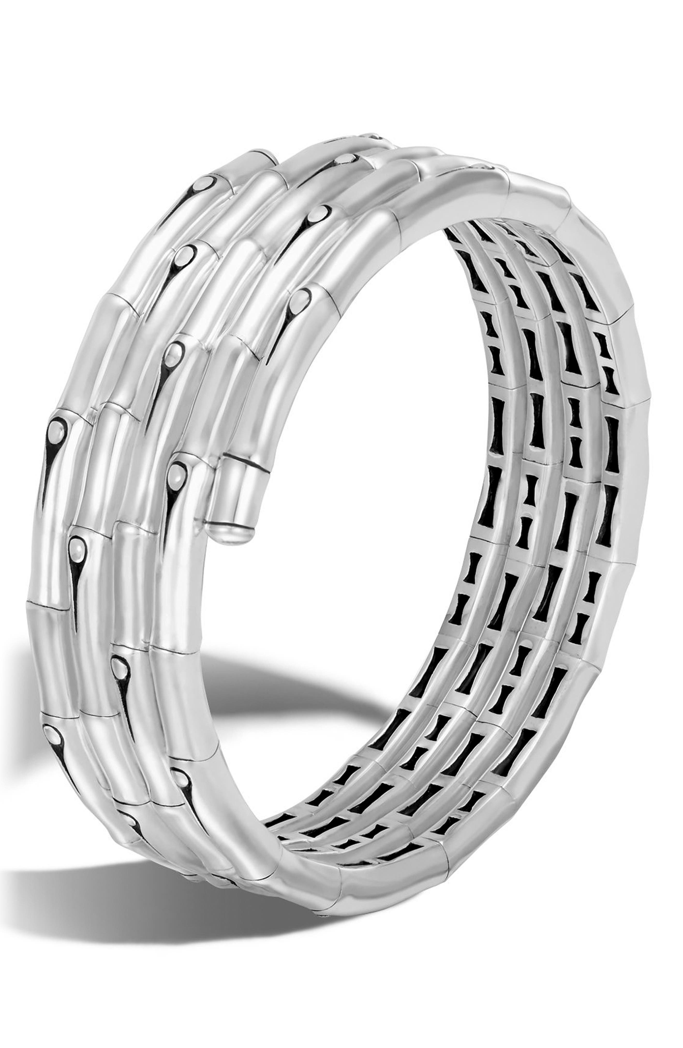 Bamboo Four Coil Bracelet,                             Main thumbnail 1, color,                             Silver