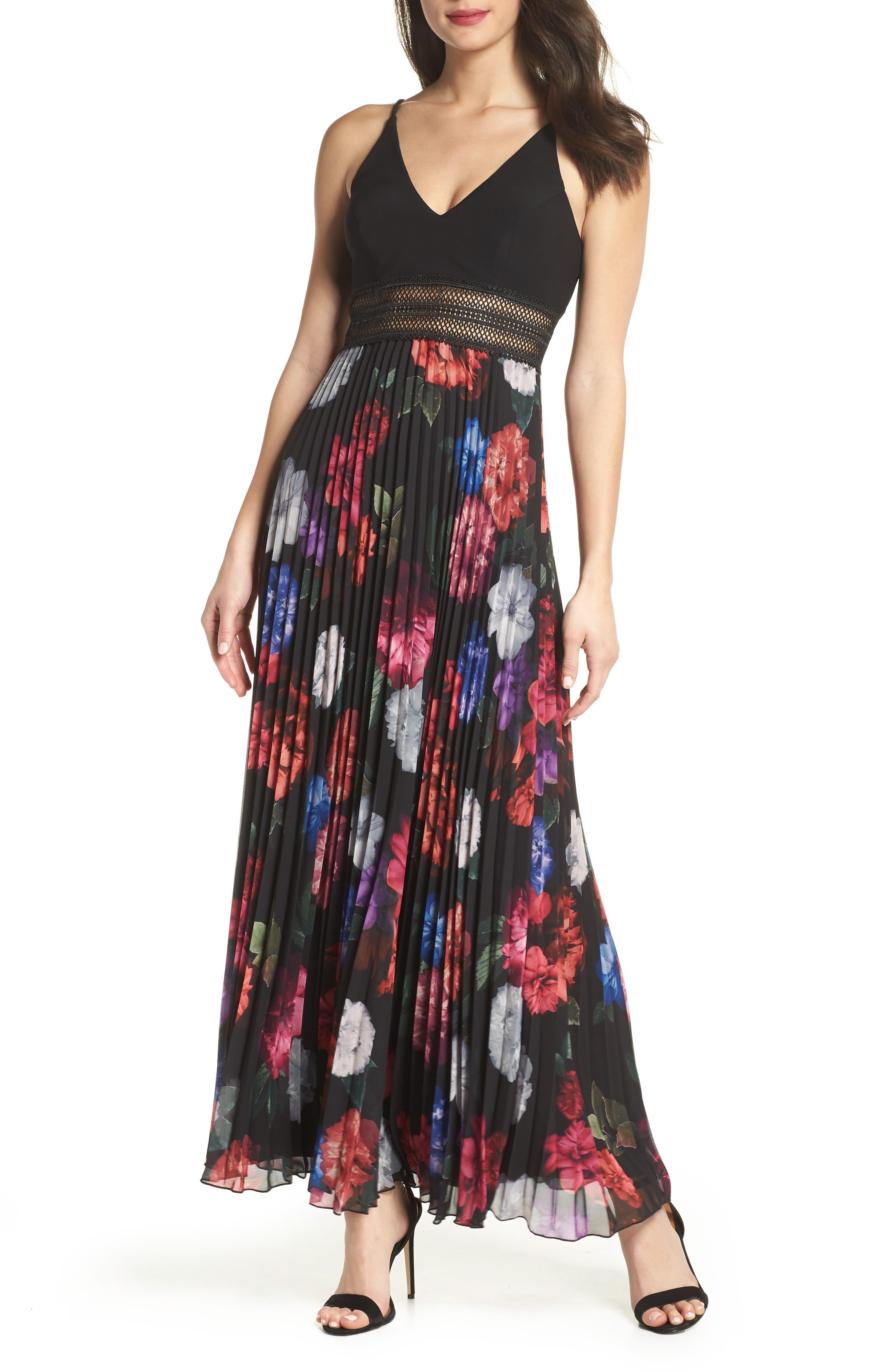 Floral Pleated Gown,                             Main thumbnail 1, color,                             Black/ Purple
