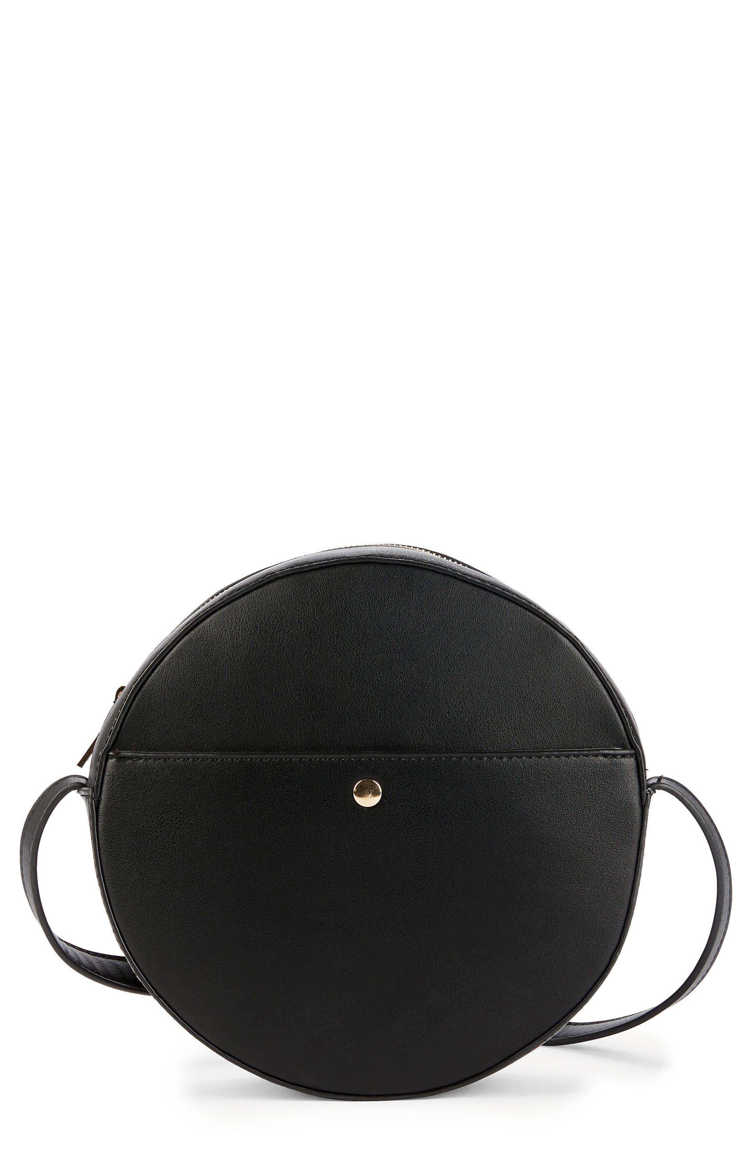 Canteen Faux Leather Crossbody Bag,                             Main thumbnail 1, color,                             Black