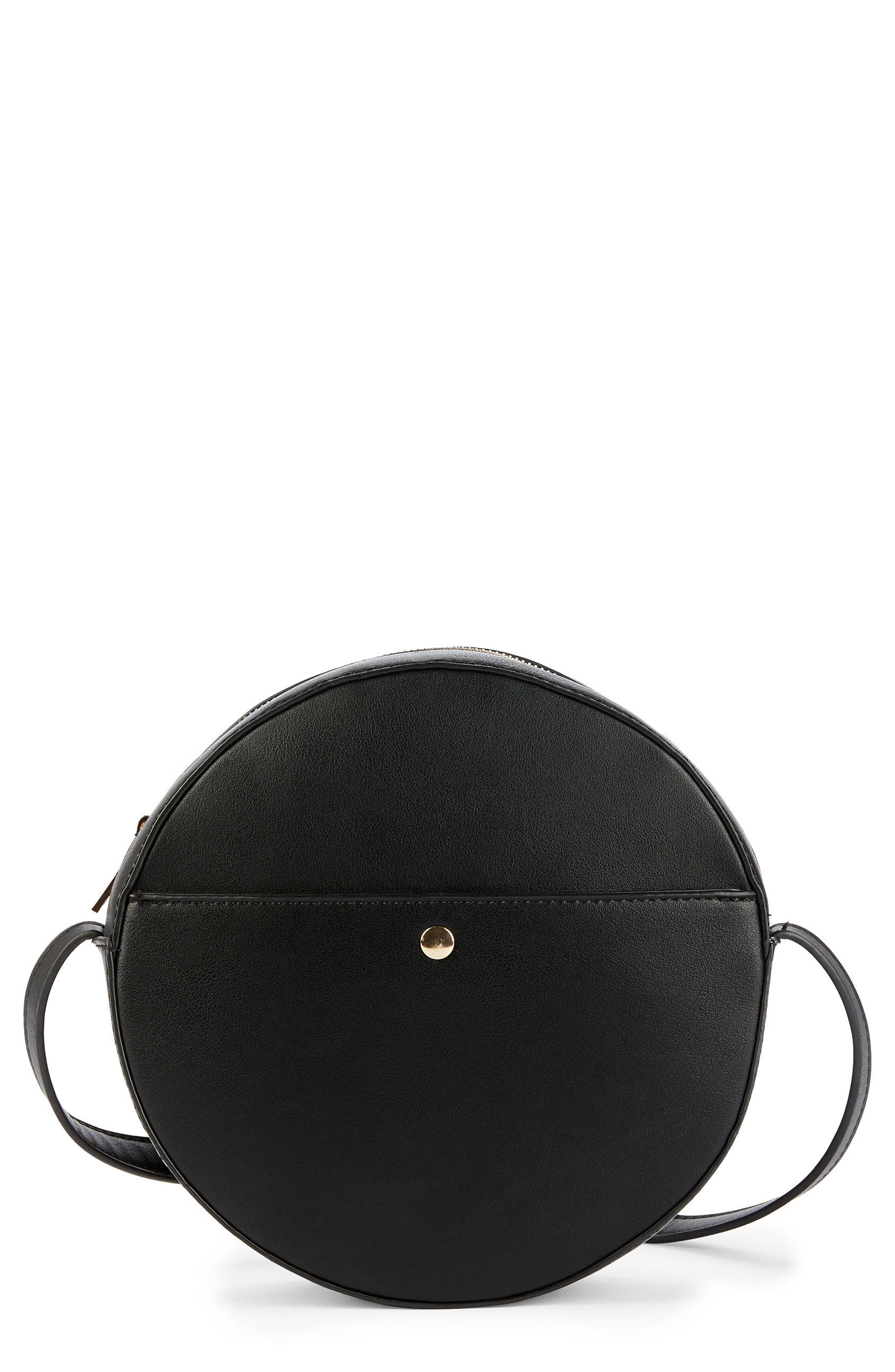 Canteen Faux Leather Crossbody Bag,                         Main,                         color, Black