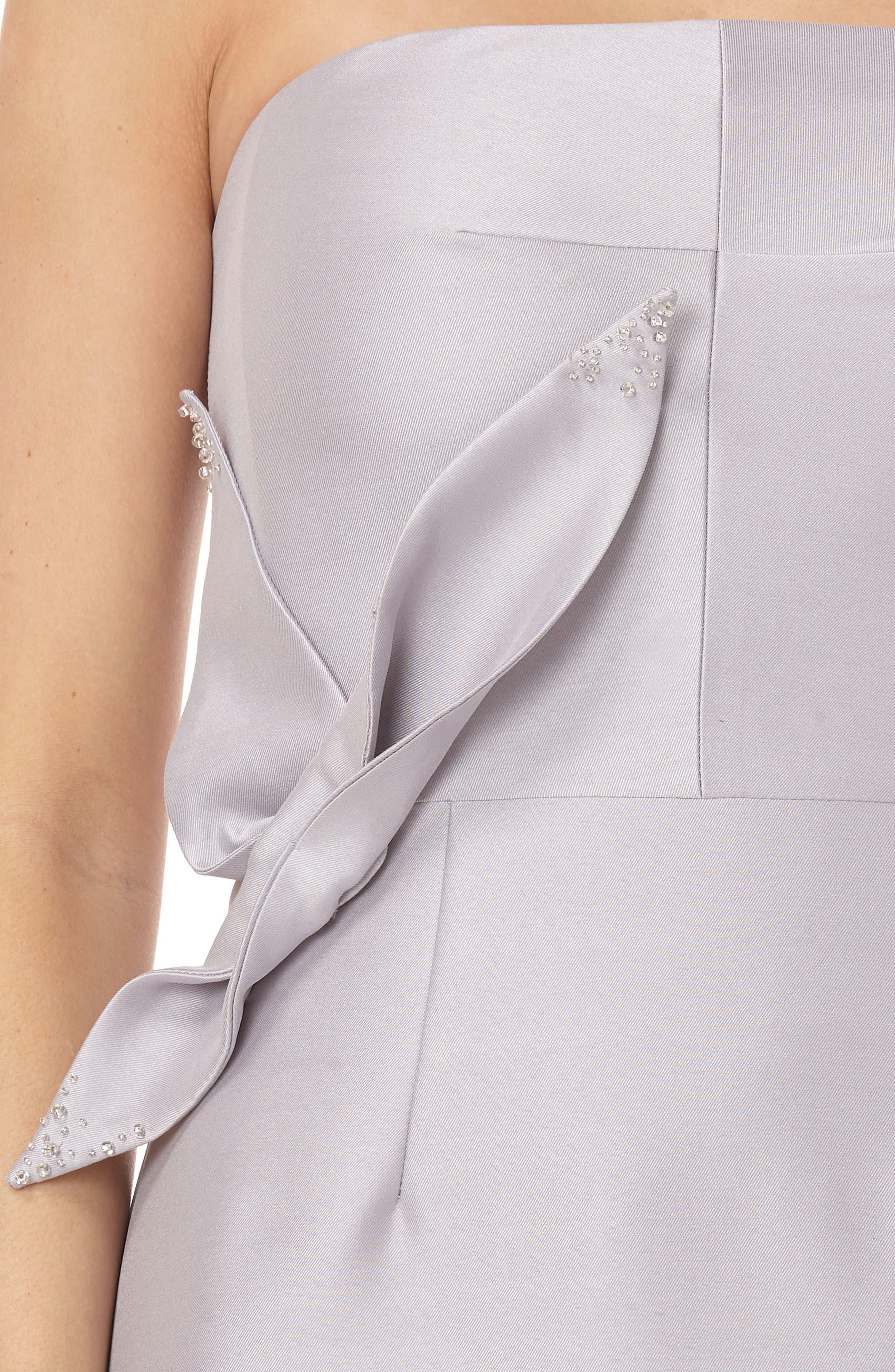 Strapless Satin Tea Length Dress,                             Alternate thumbnail 4, color,                             Dove Grey