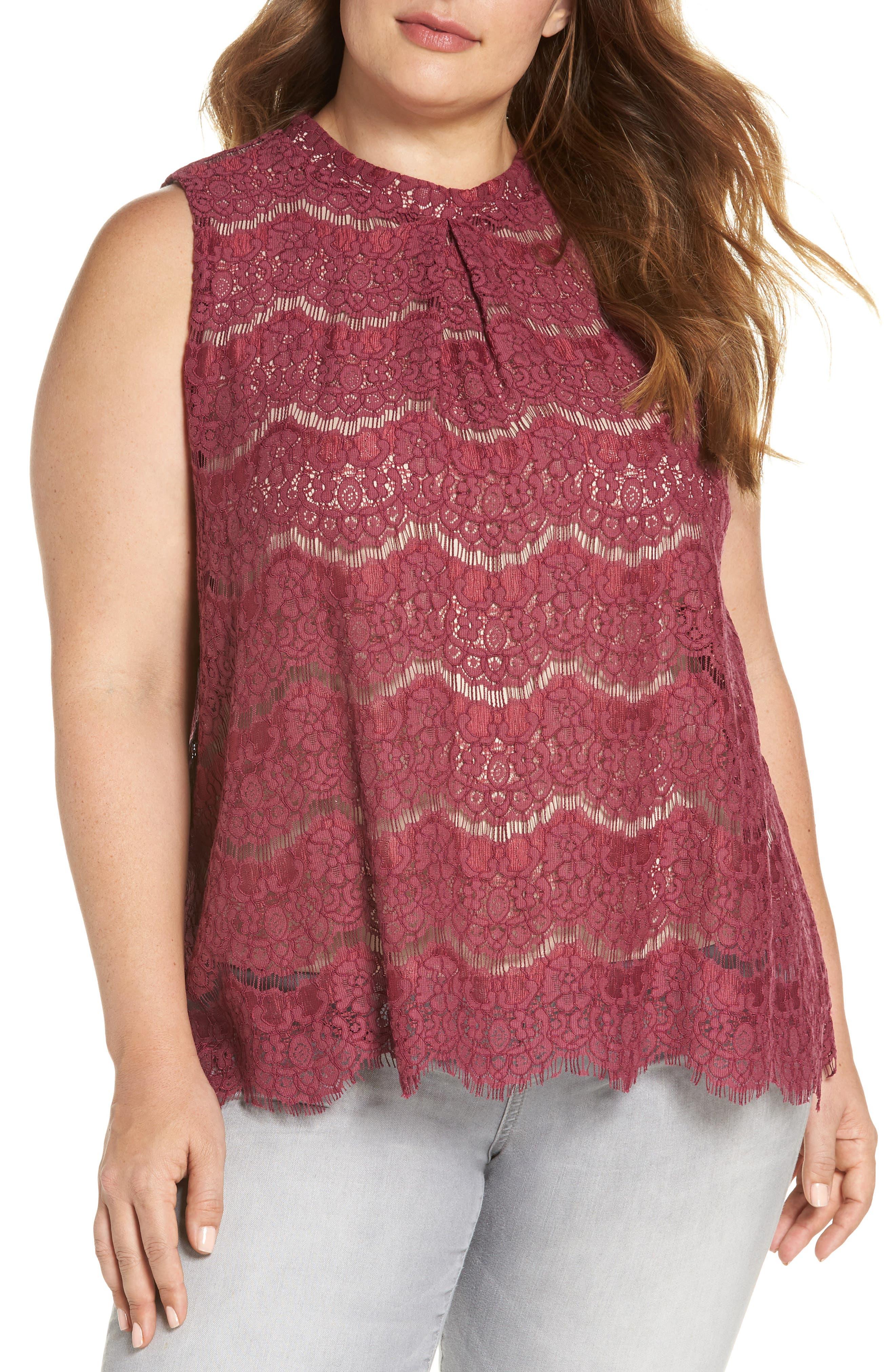 Lace Top,                             Main thumbnail 1, color,                             Hawthorn Rose
