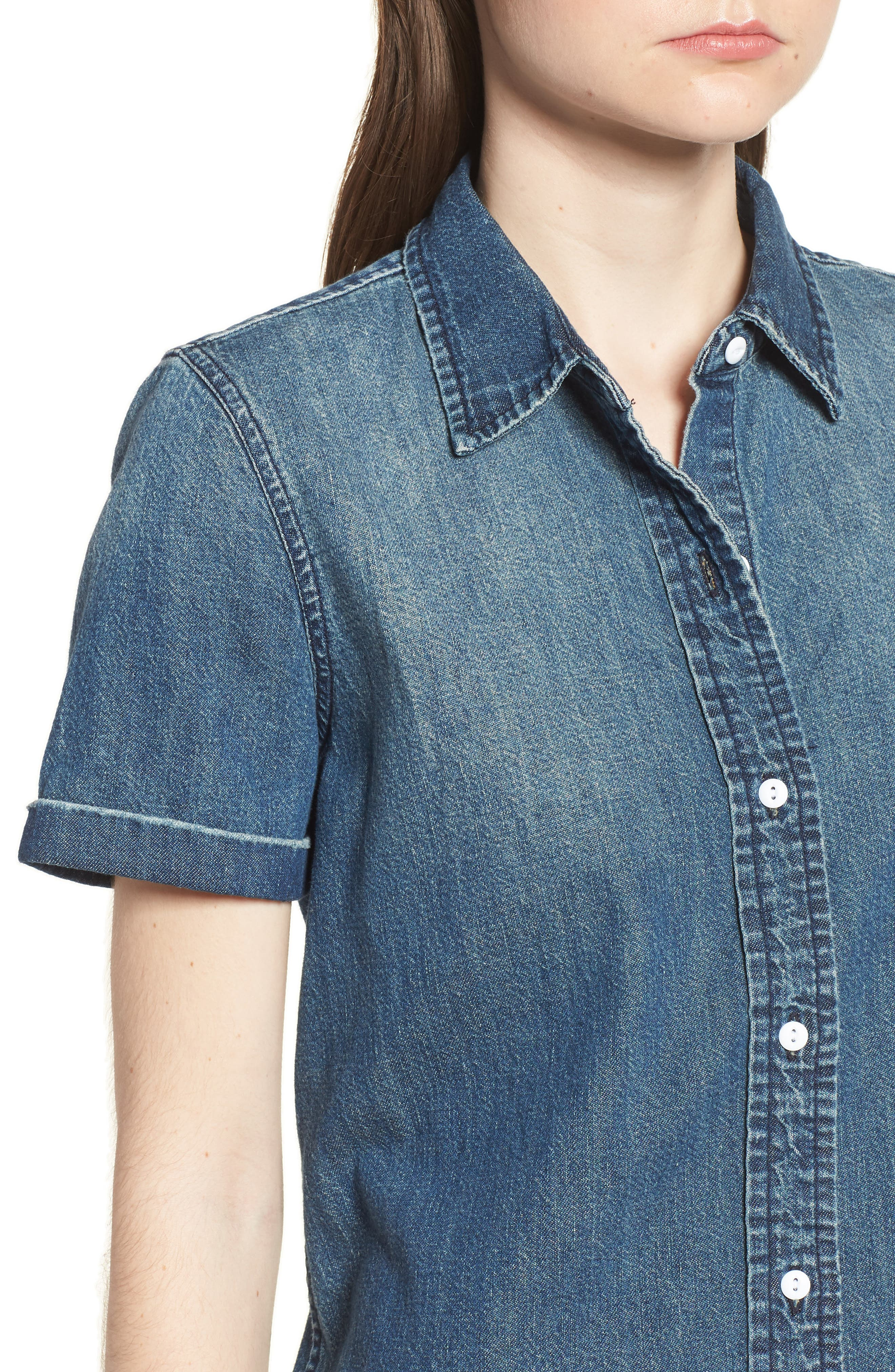 The Lu Denim Shirt,                             Alternate thumbnail 4, color,                             Conifer Wash