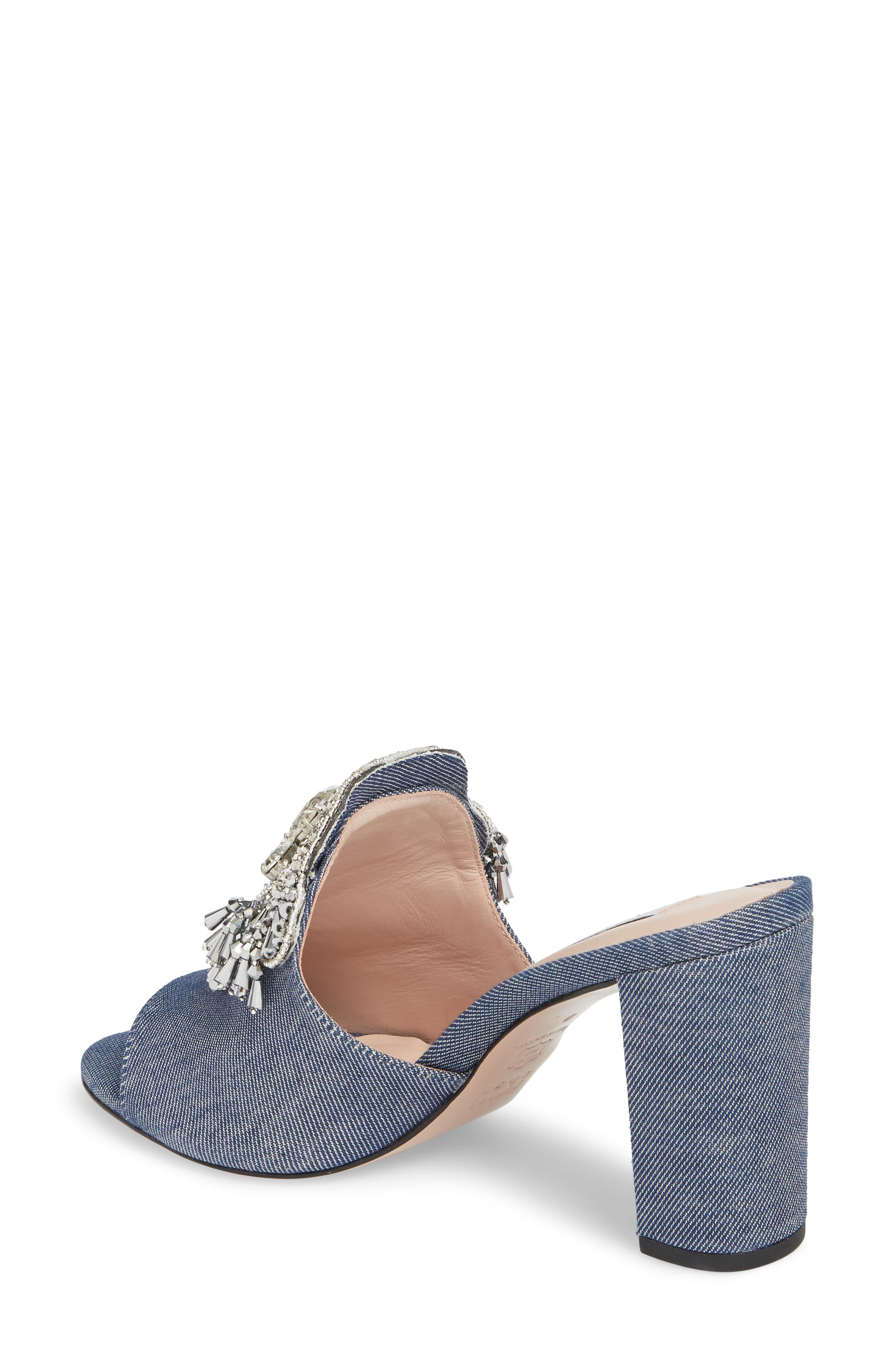 Adele Embellished Block Heel Sandal,                             Alternate thumbnail 2, color,                             Denim Patent