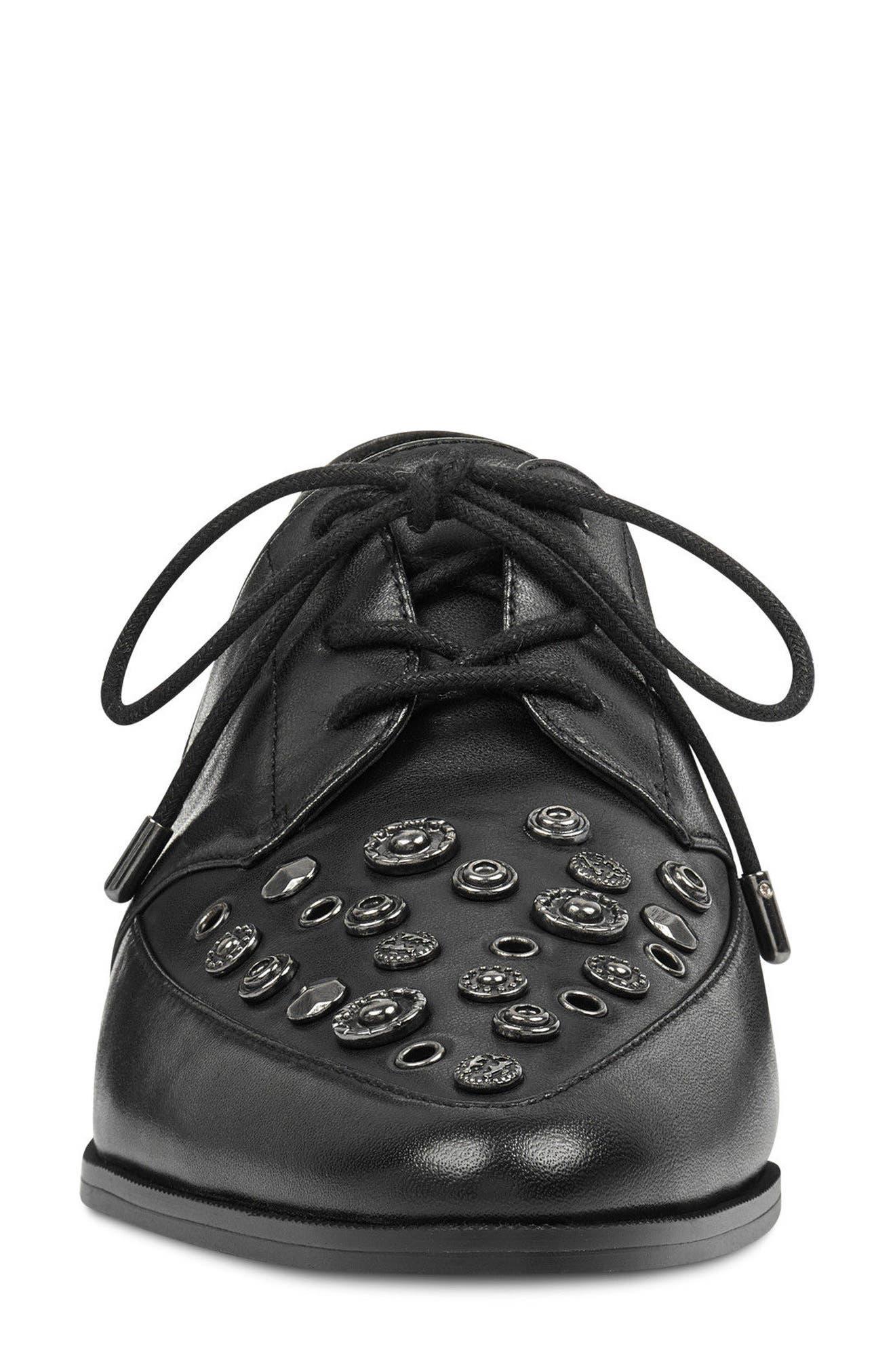 Woahalle Flat,                             Alternate thumbnail 4, color,                             Black Leather