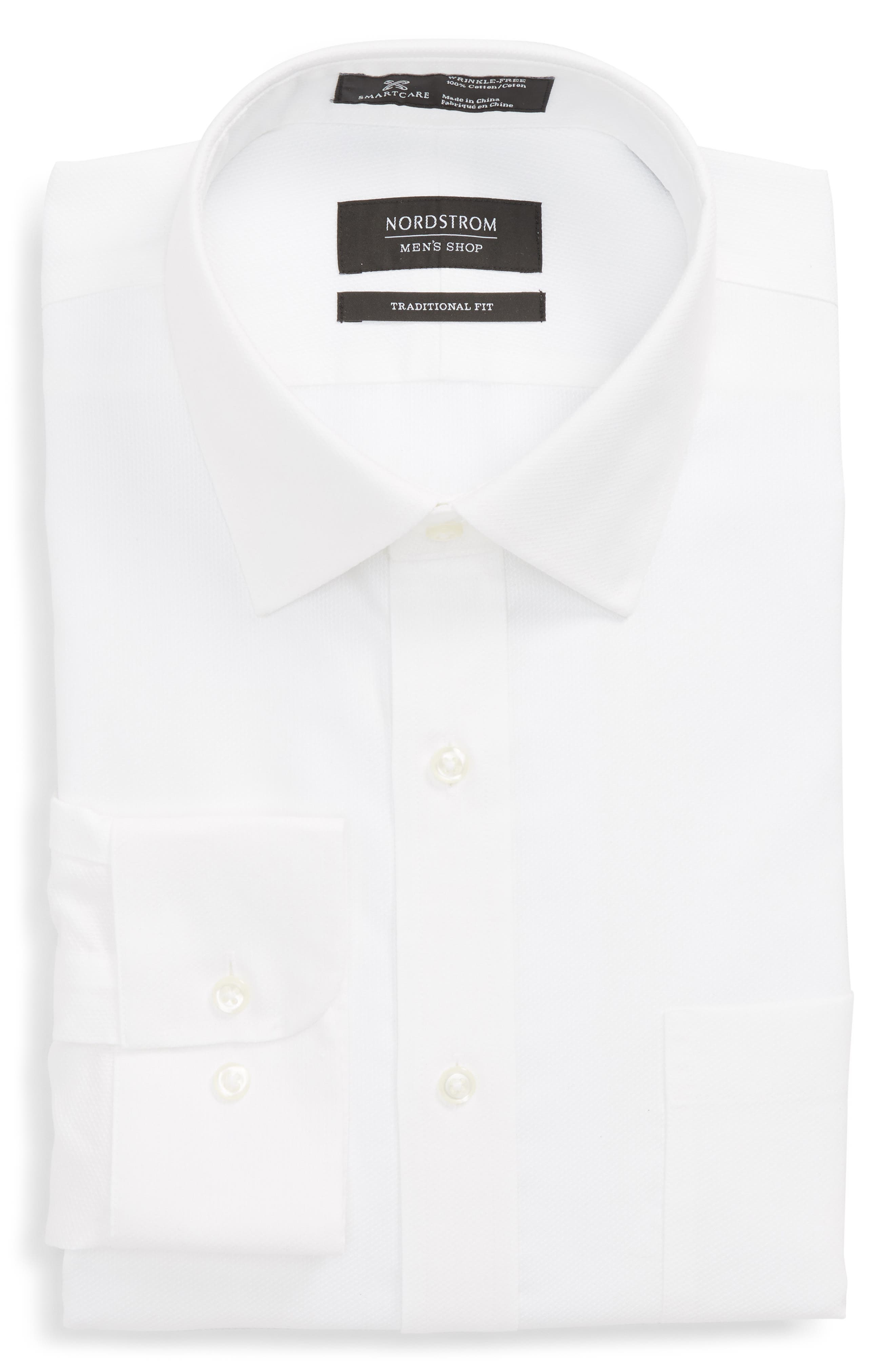 Smartcare<sup>™</sup> Traditional Fit Solid Dress Shirt,                             Alternate thumbnail 6, color,                             White