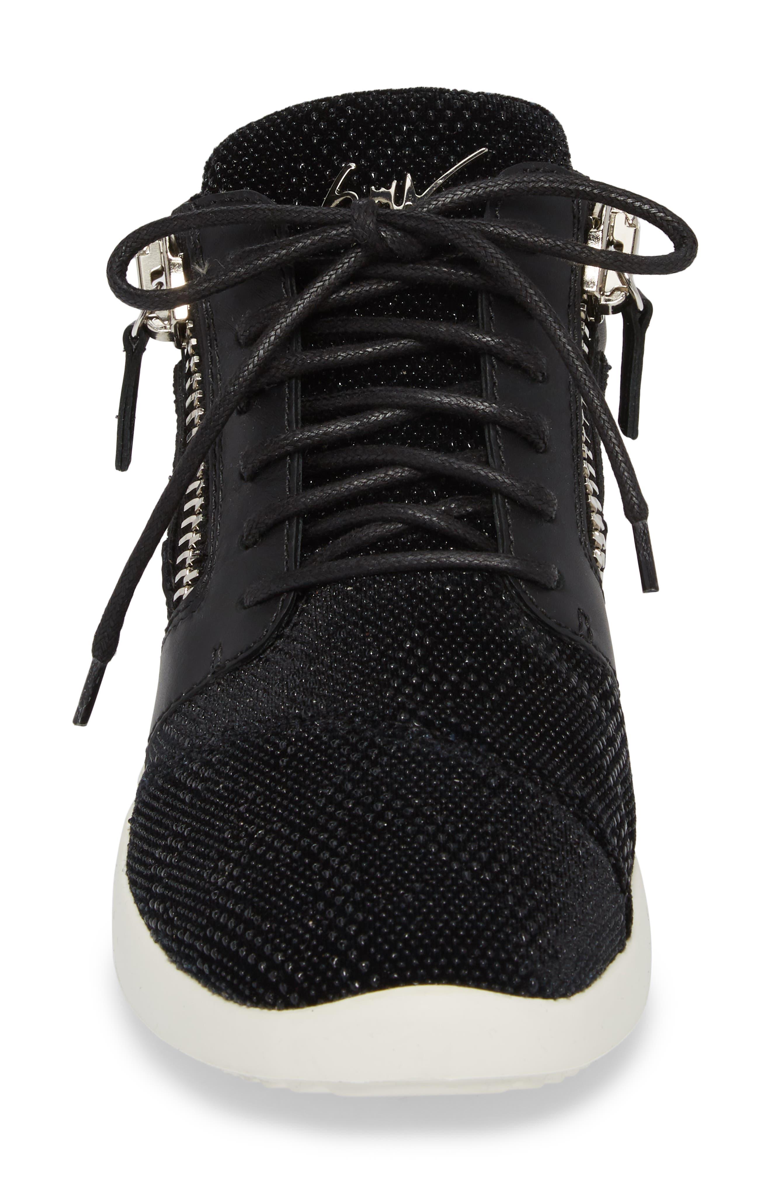 Mid Top Sneaker,                             Alternate thumbnail 4, color,                             Black