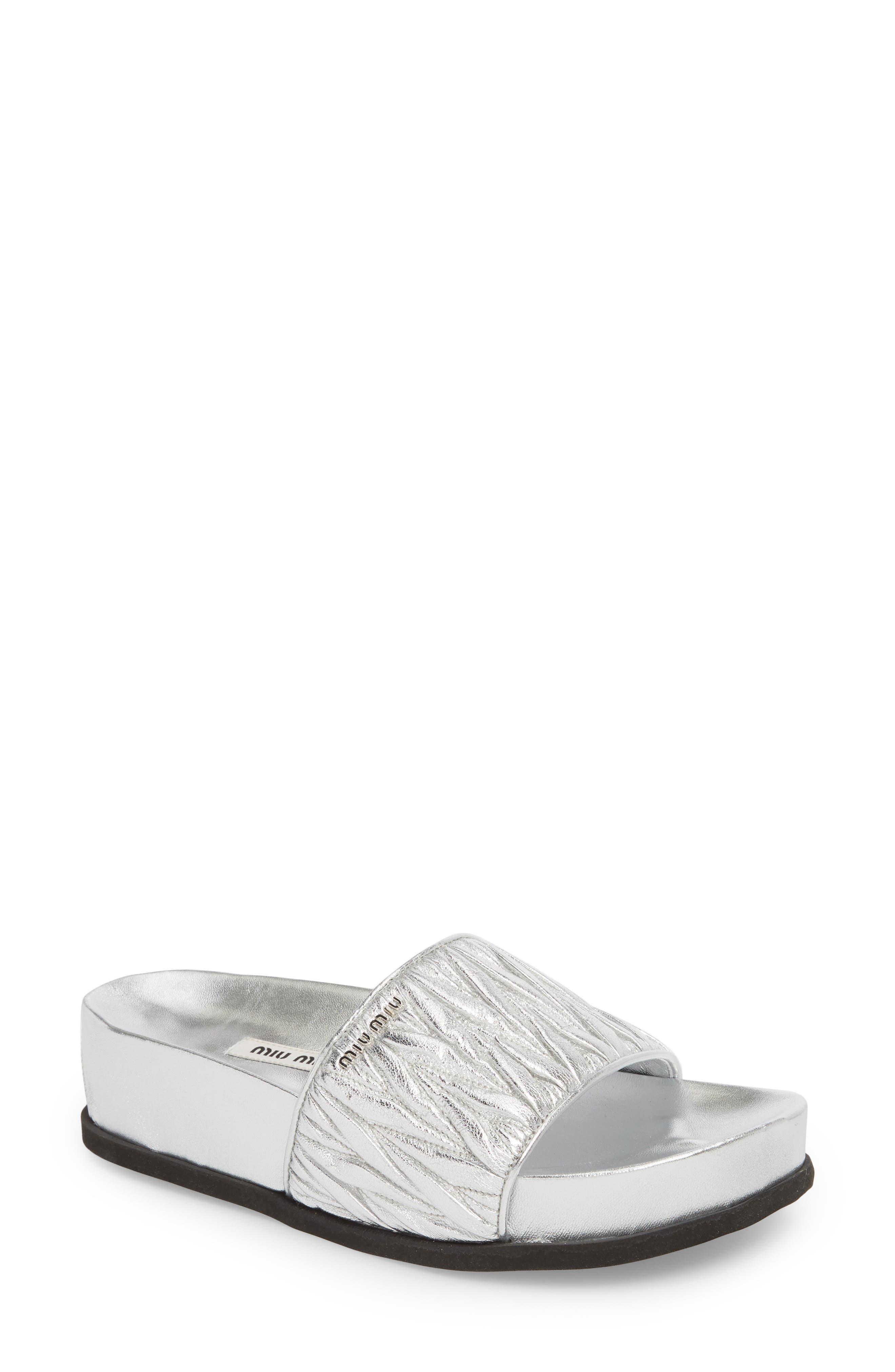 Matelassé Slide Sandal,                         Main,                         color, Silver