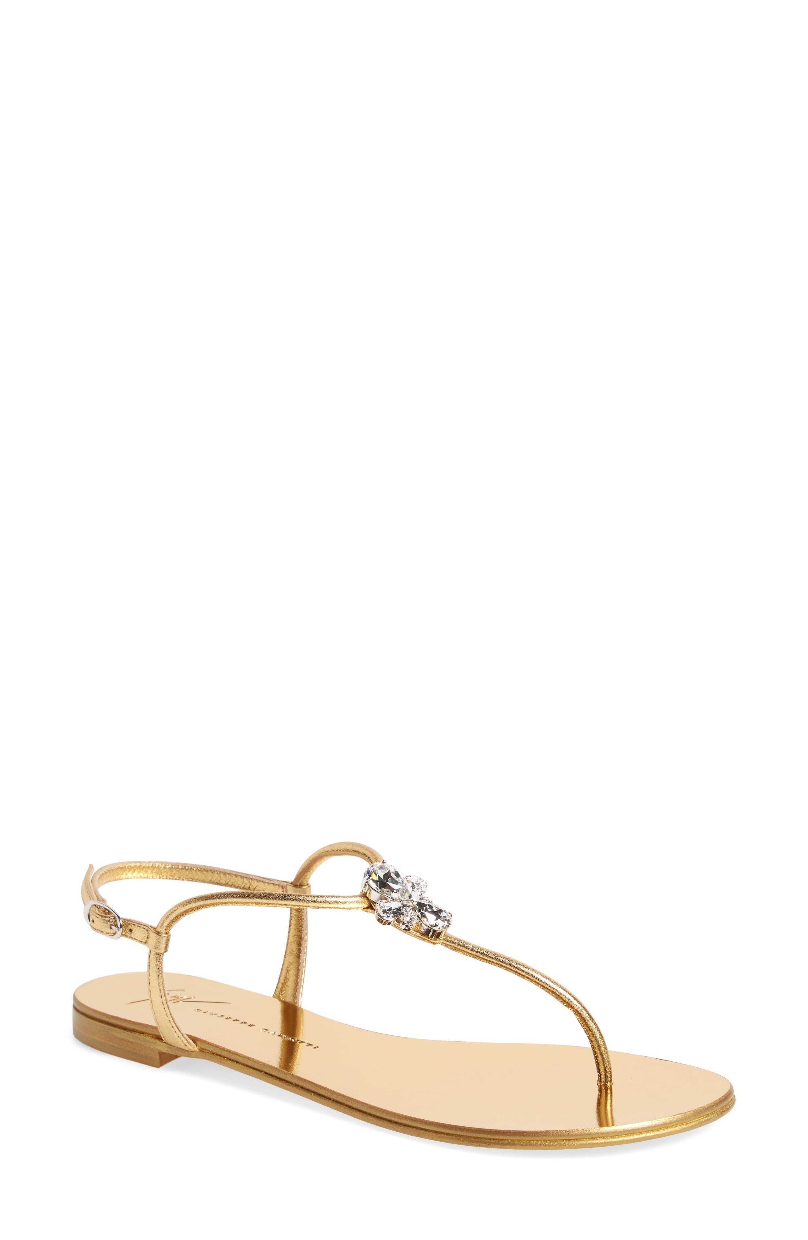 Crystal T-Strap Sandal,                             Main thumbnail 1, color,                             Gold