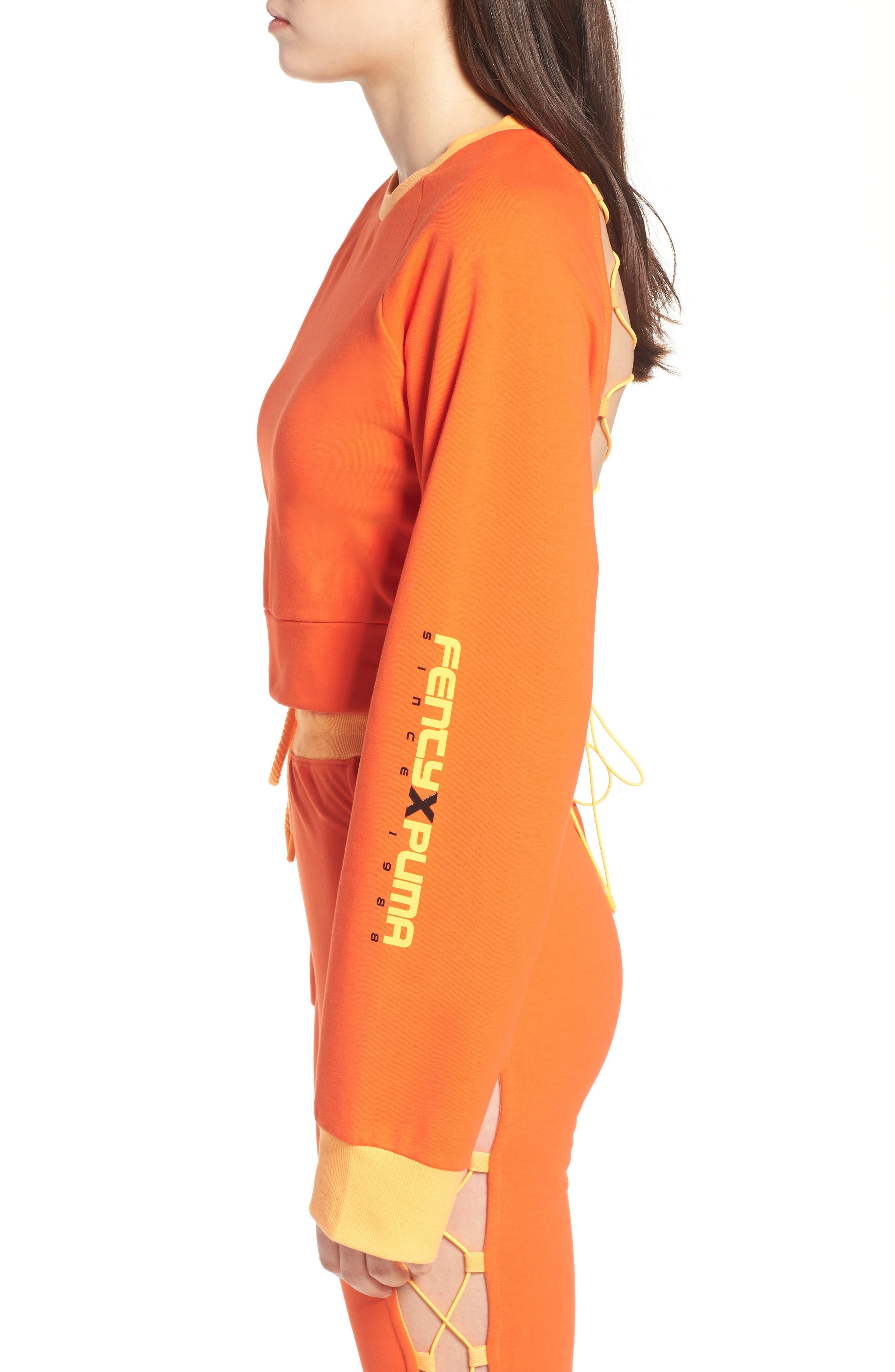 FENTY PUMA by Rihanna Lace-Up Back Sweatshirt,                             Alternate thumbnail 3, color,                             Cherry Tomato