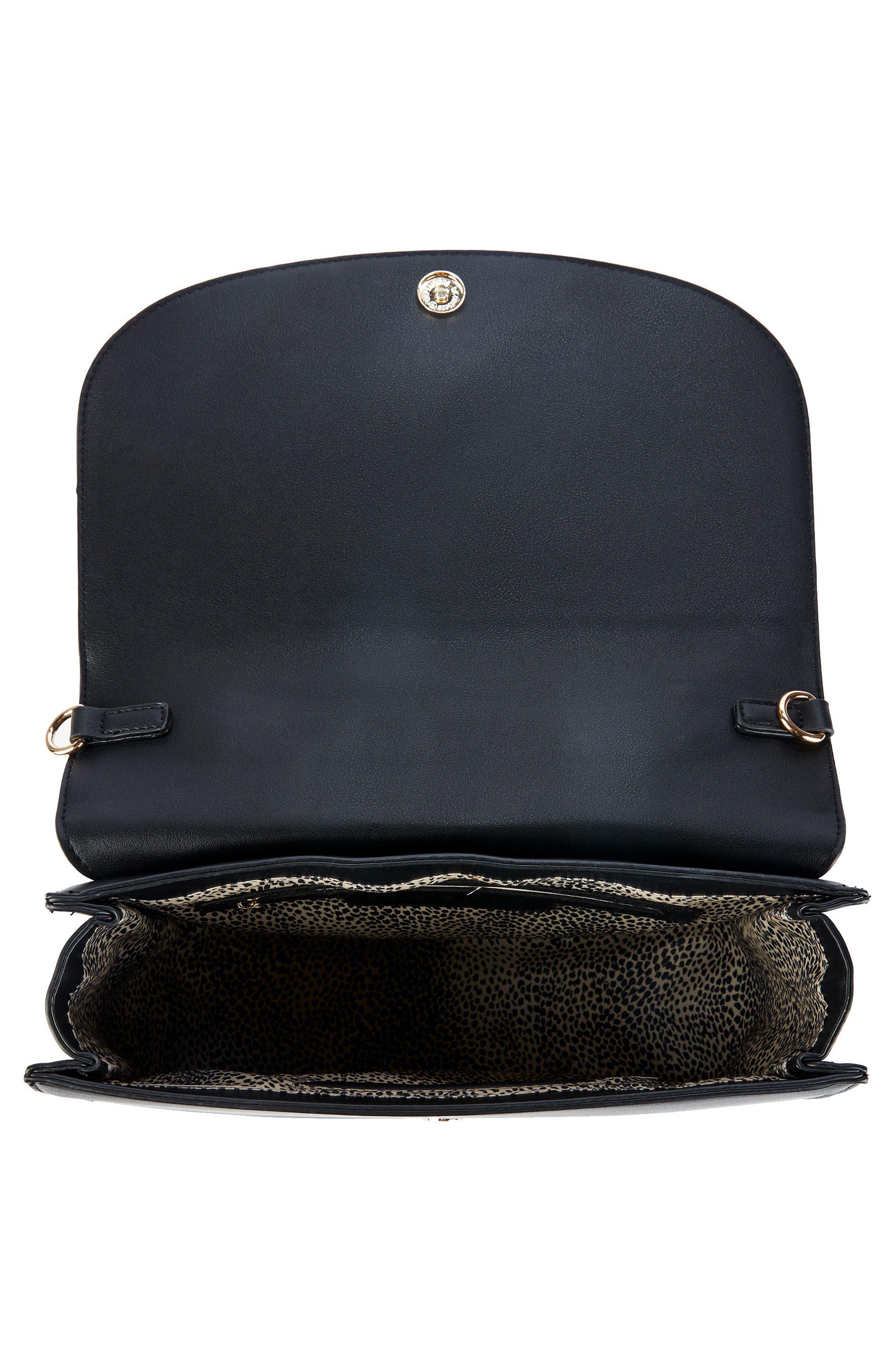 Elie Medium Faux Leather Satchel,                             Alternate thumbnail 3, color,                             Black