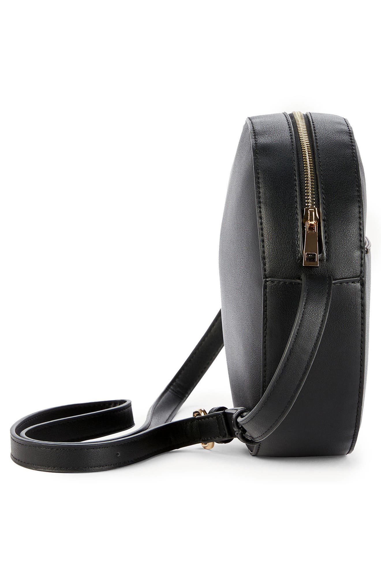 Canteen Faux Leather Crossbody Bag,                             Alternate thumbnail 4, color,                             Black
