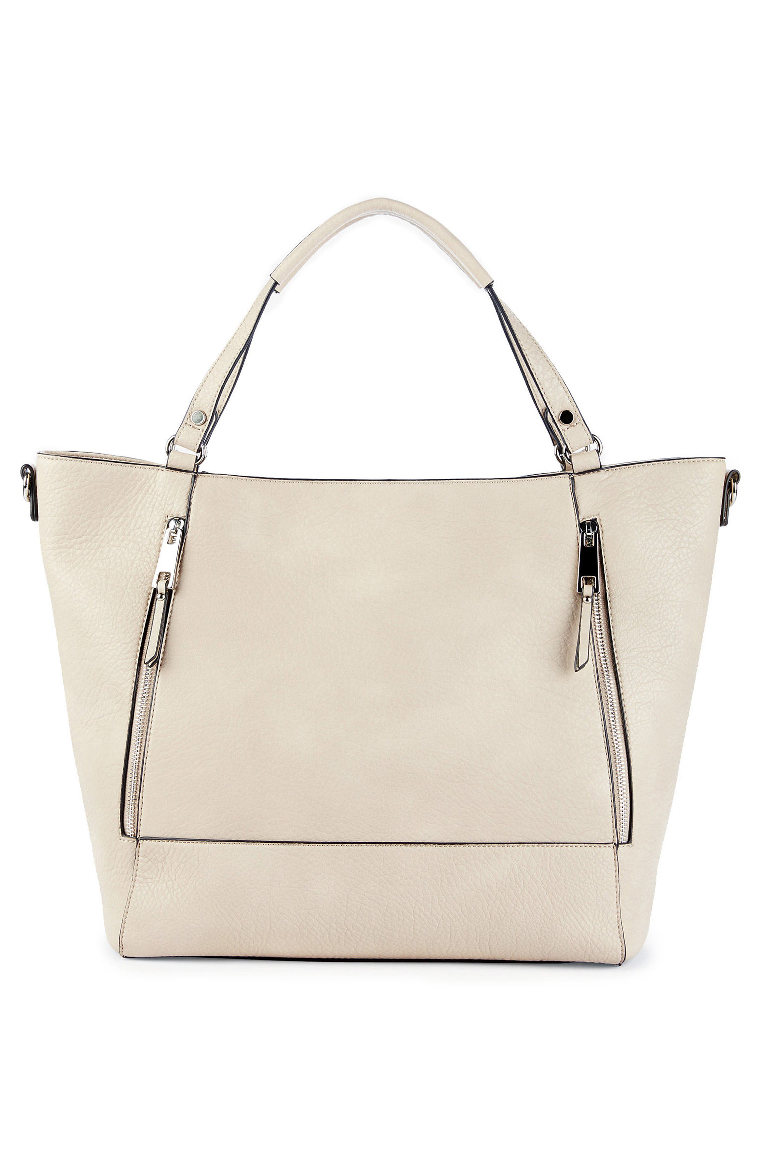 Nera Faux Leather Tote,                             Main thumbnail 1, color,                             Sandshell