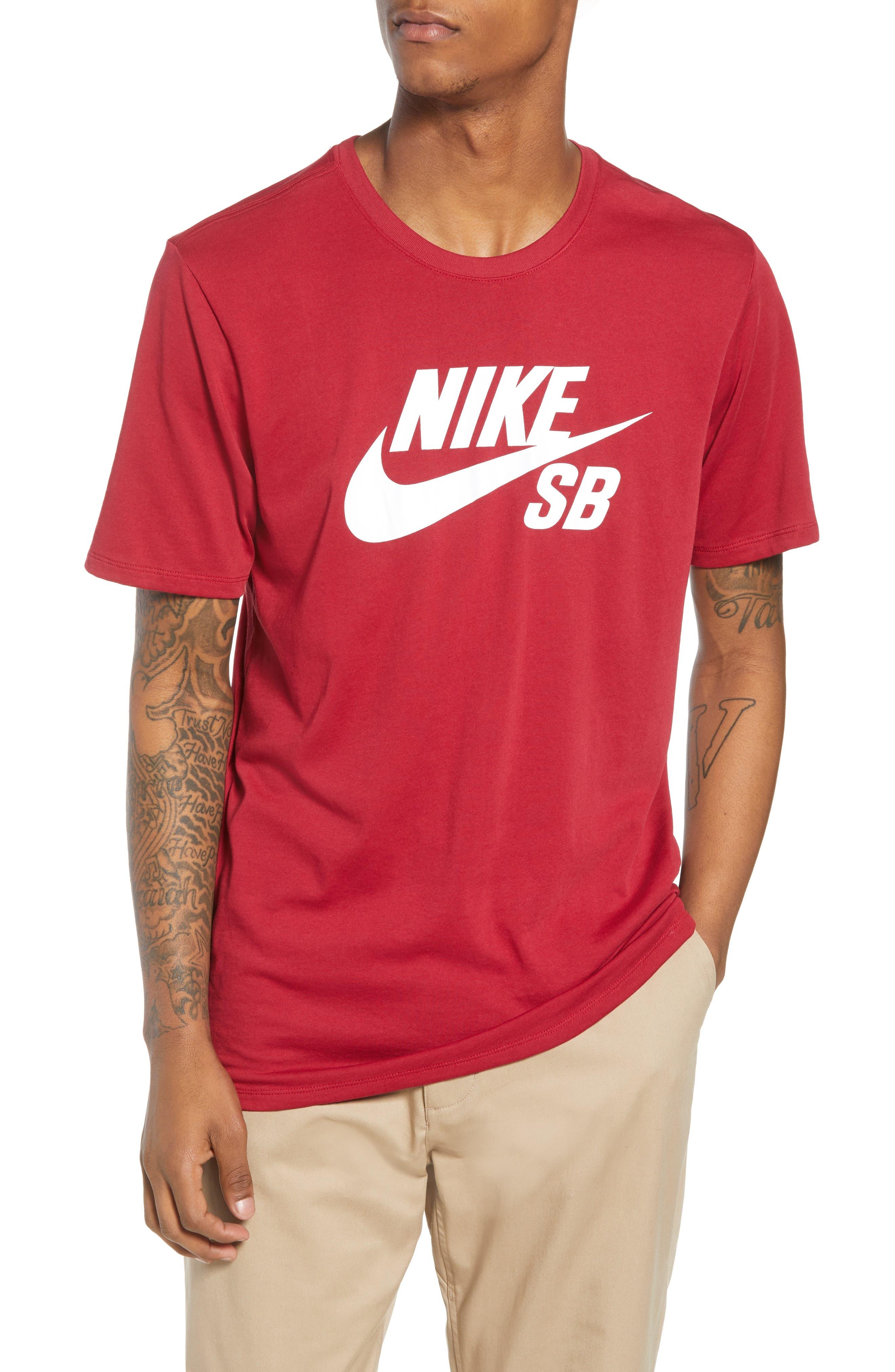 Nike 'SB Logo' T-Shirt,                             Main thumbnail 1, color,                             Red Crush White