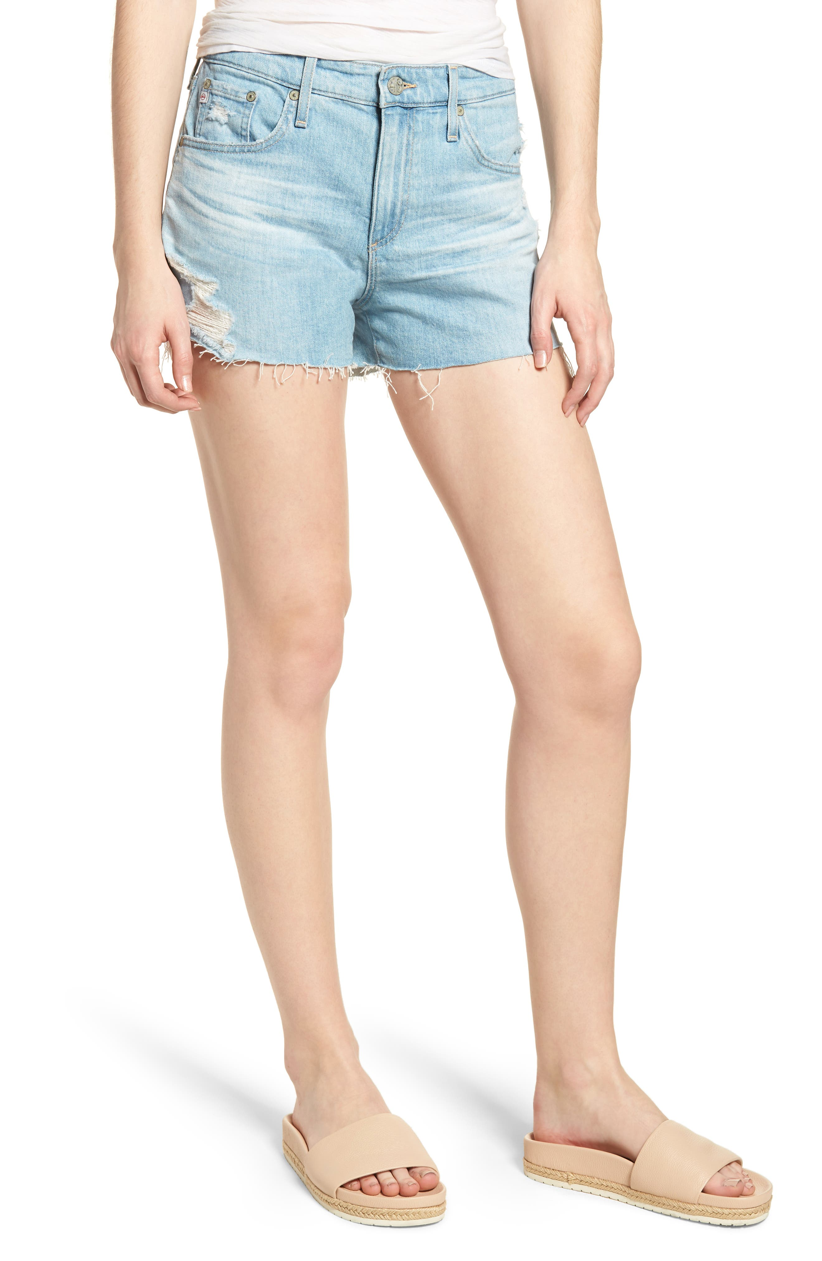 Bryn High Waist Cutoff Denim Shorts,                         Main,                         color, 23 Years Cerulean Chase