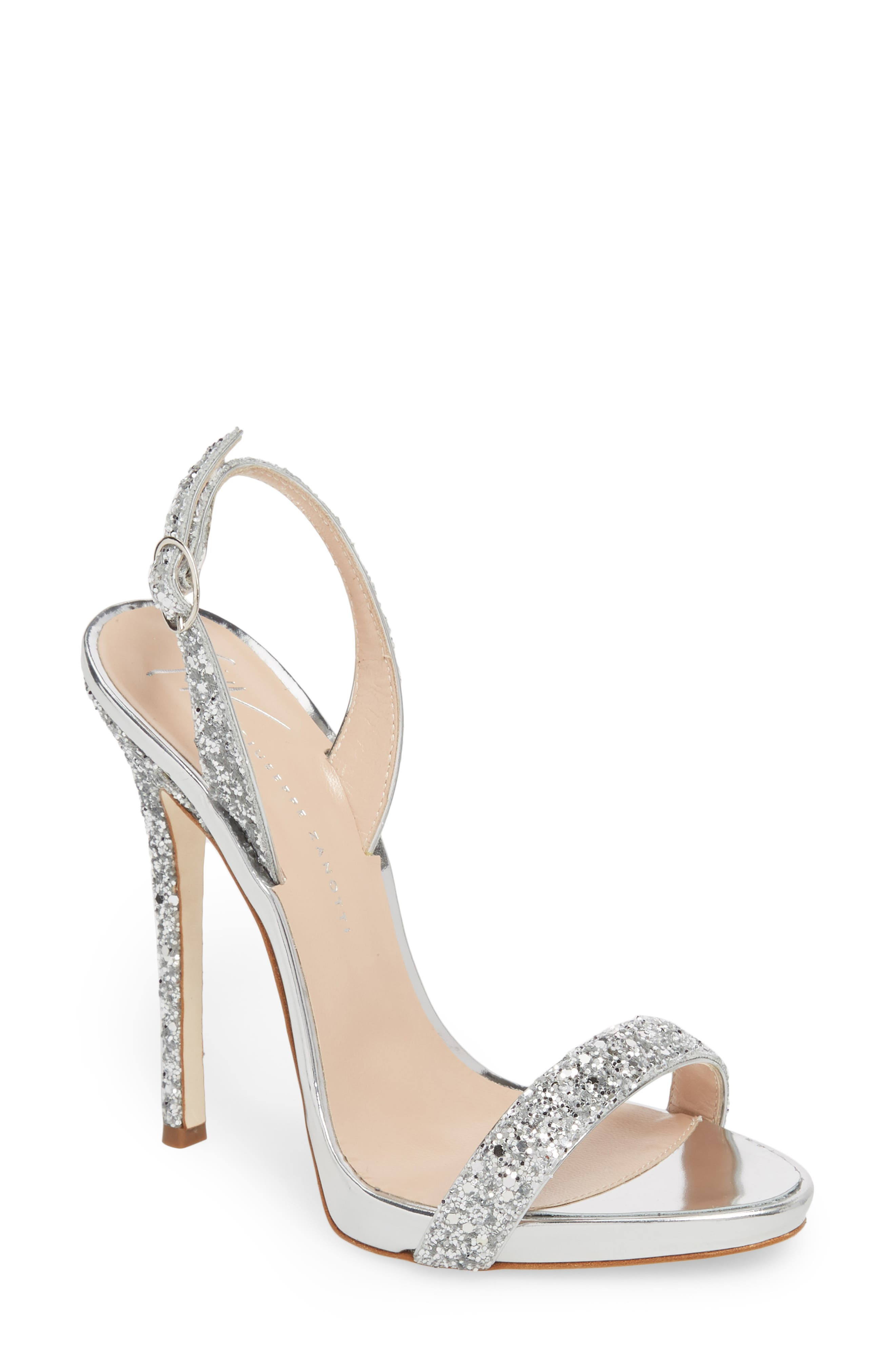 Glitter Slingback Sandal,                             Main thumbnail 1, color,                             Silver